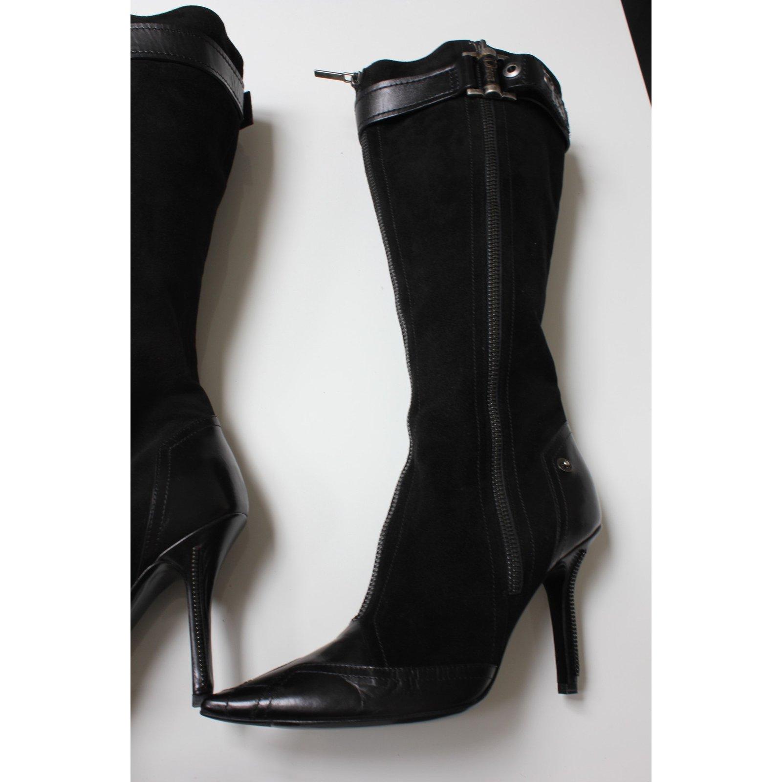 Bottes Christian Dior Bottes Cuir,Daim Noir ref.22580 - Joli Closet 4d865b6fc34