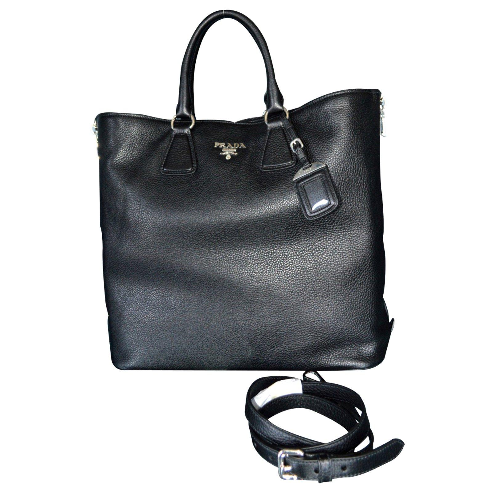 e46b2bcb9472 Prada BN2419 vitello phenix black leather tote shoulder bag Handbags ...