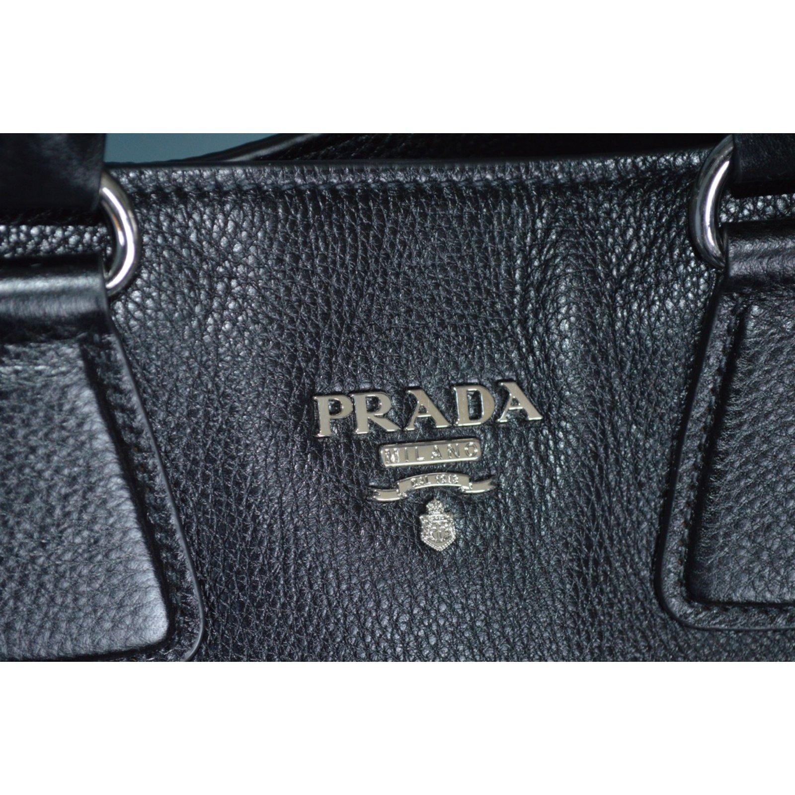 06958fc7e9be Prada BN2419 vitello phenix black leather tote shoulder bag Handbags  Leather Black ref.23394 - Joli Closet