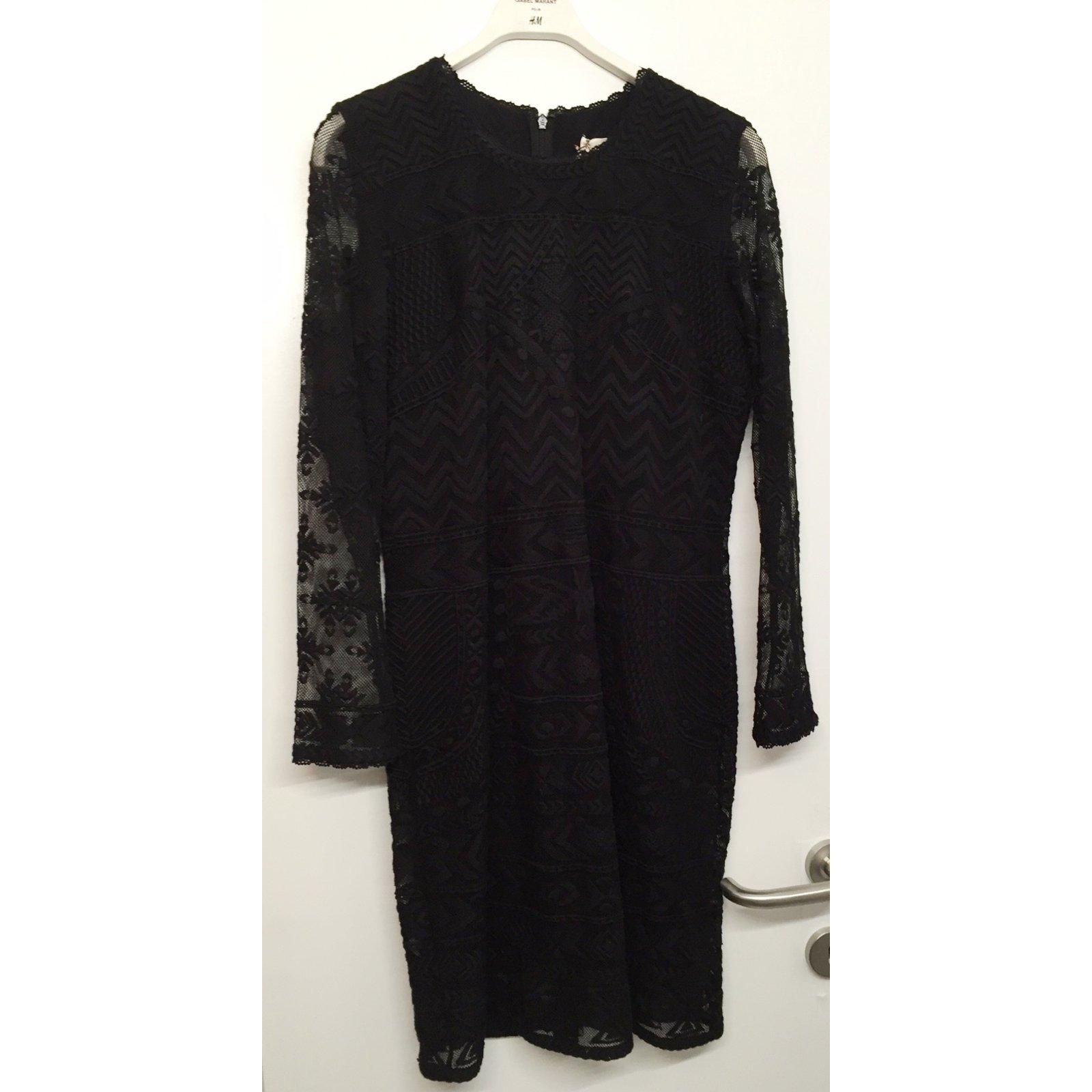 Robe dentelle noire manches longues isabel marant Pour H&M