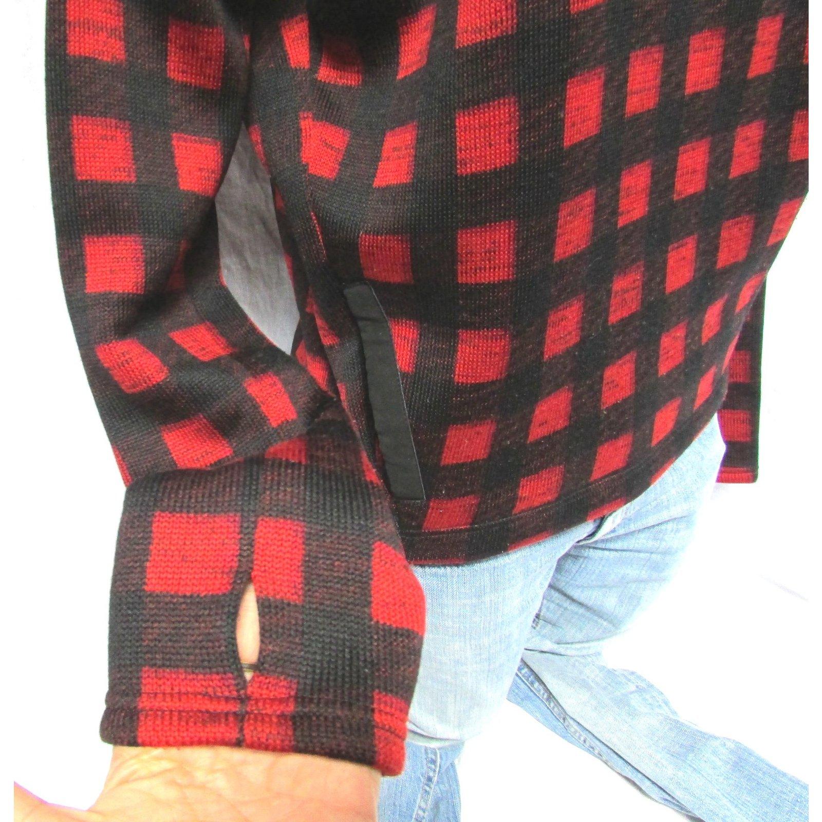 maje pull carreaux rouge