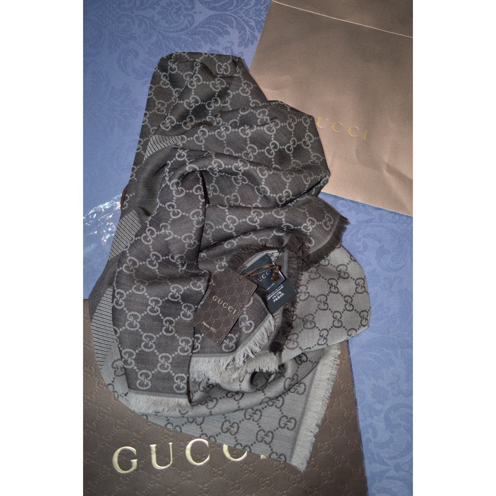cbf37a15c5e5 Gucci SCARF GGWEB Scarves Wool Brown ref.24885 - Joli Closet