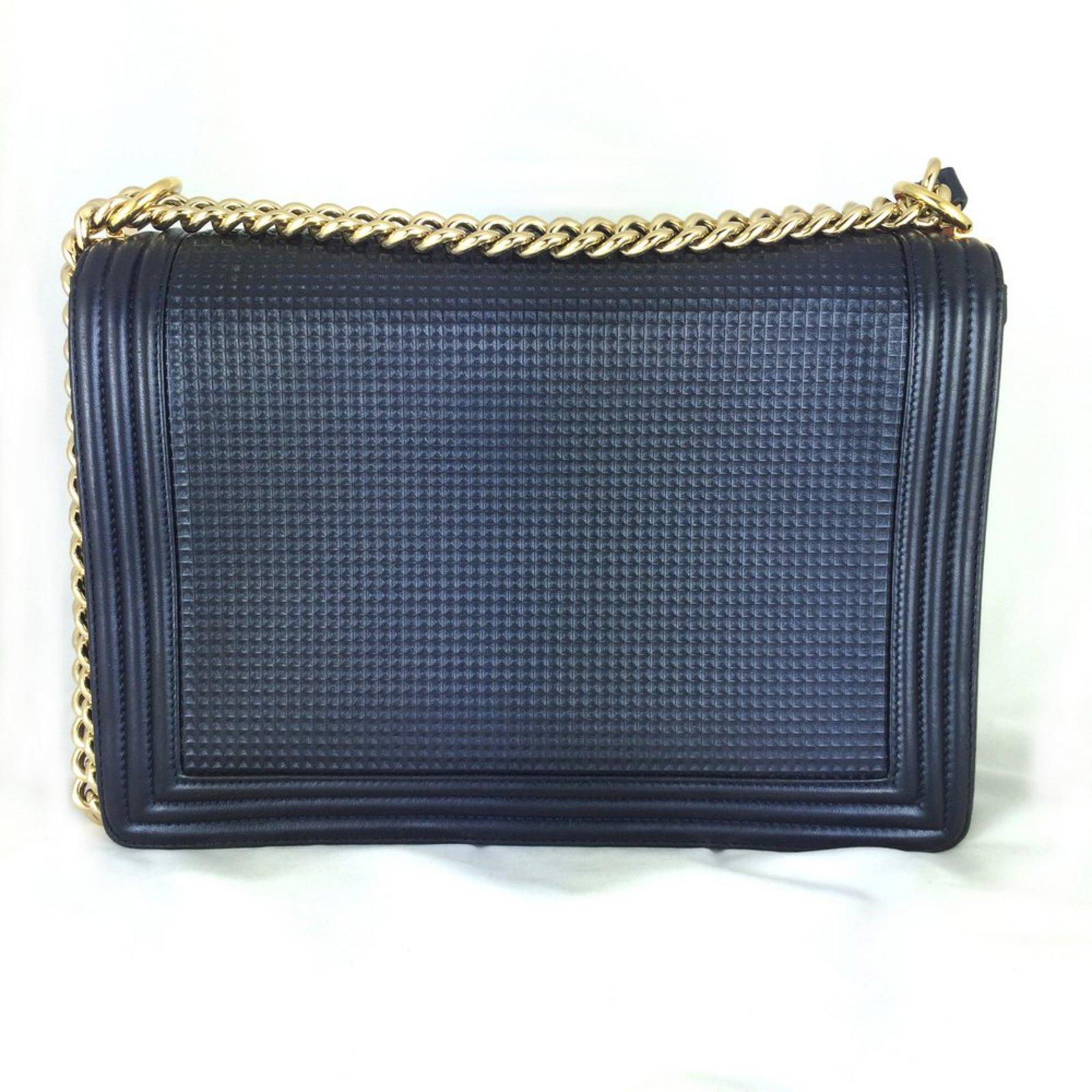 89a924255934 Chanel Boy Cruise 2013 Dark blue Large Handbags Leather Blue ref ...