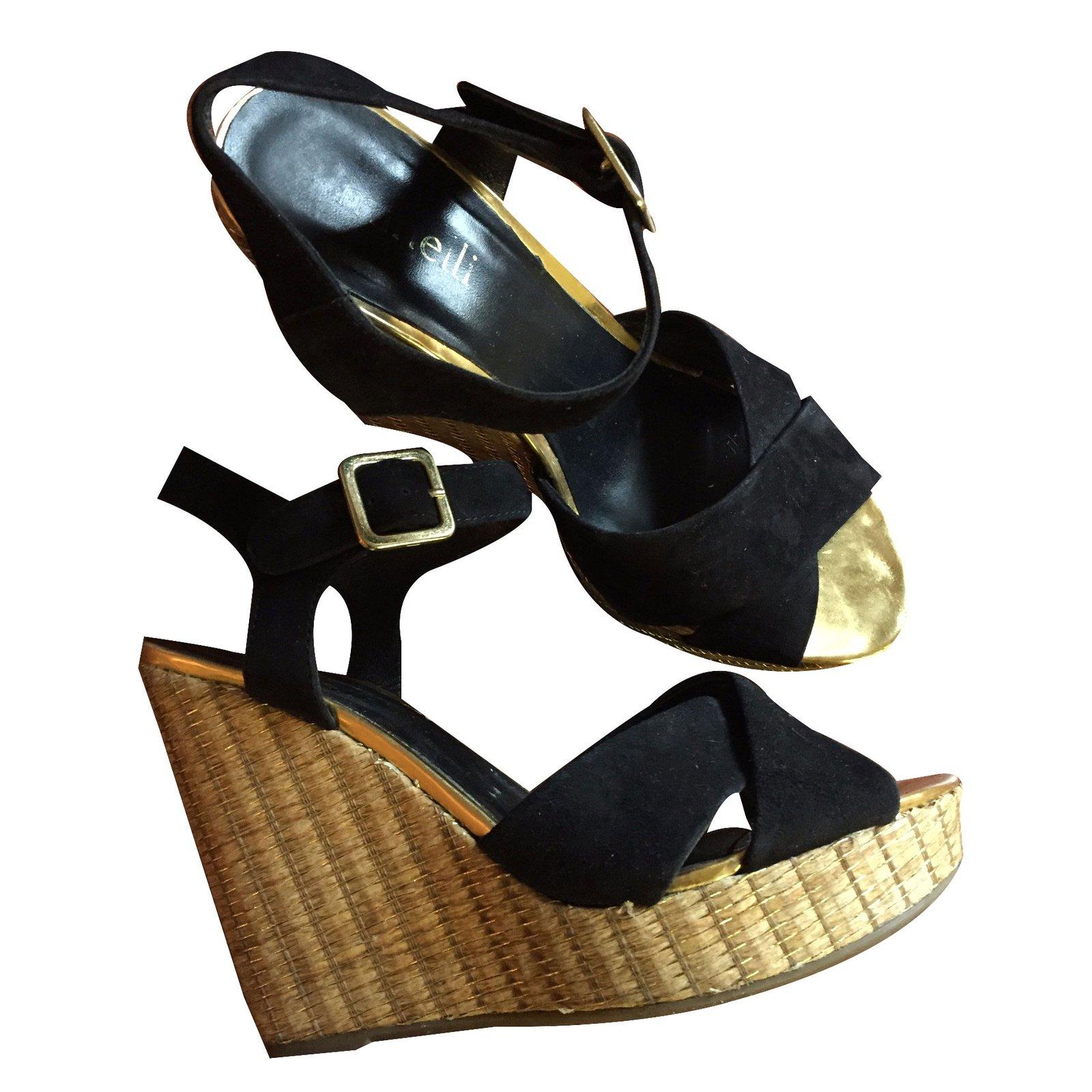 51ad11513242 Autre Marque  Minelli  Sandals Sandals Deerskin Black ref.25548 - Joli  Closet