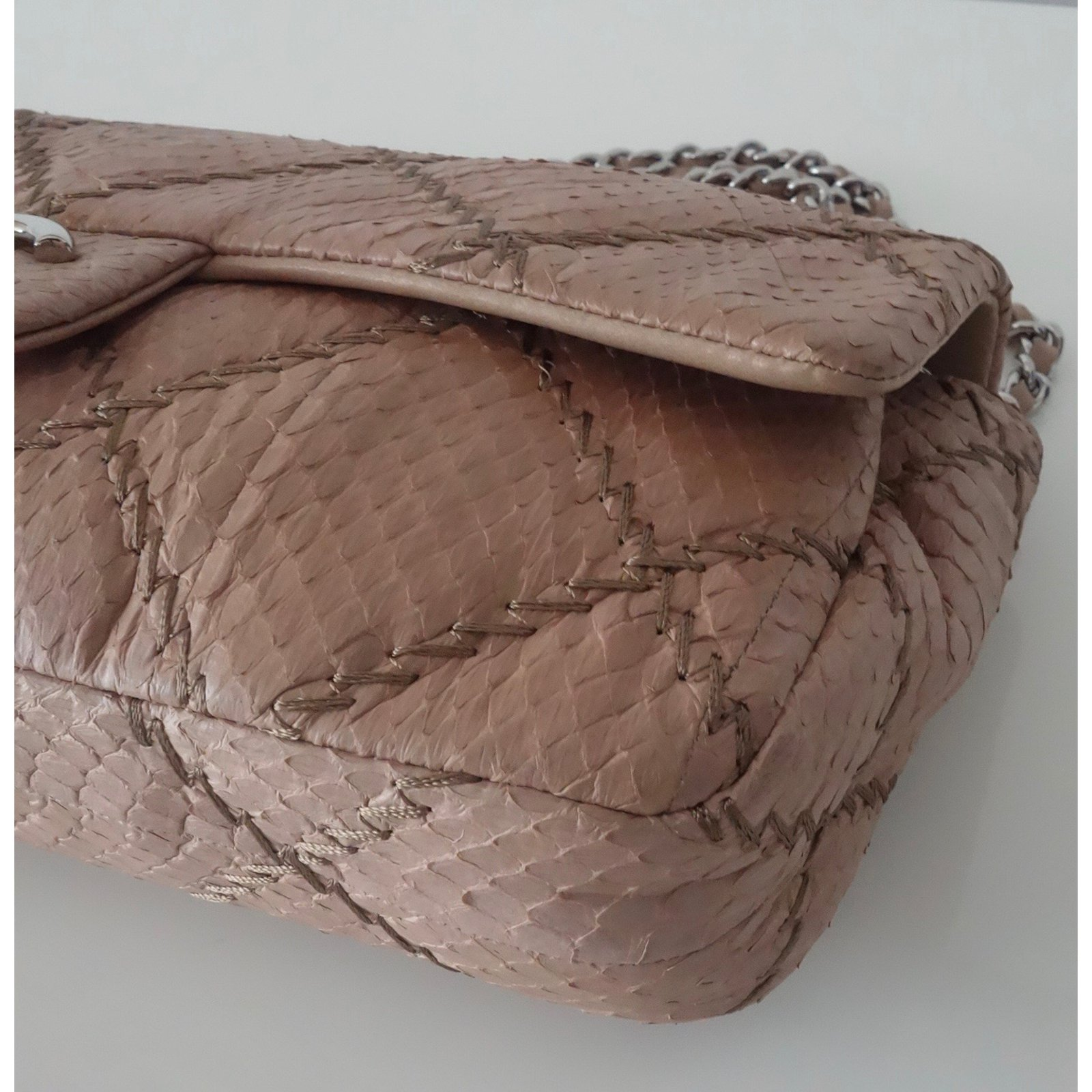 e50bd4d7b9b176 Facebook · Pin This. Chanel MADEMOISELLE BAGUETTE Handbags Exotic leather  Beige ...
