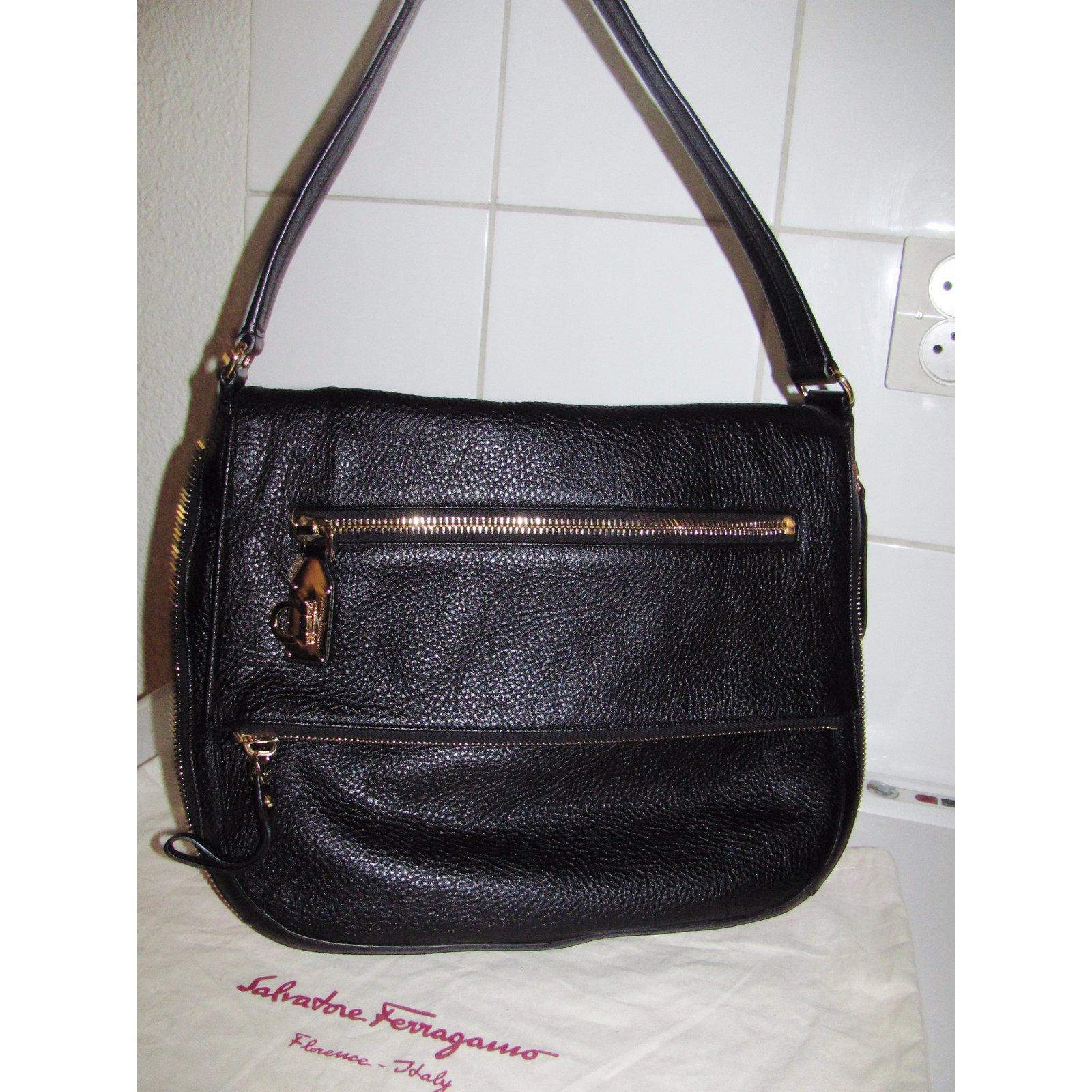 653120098f00 Facebook · Pin This. Salvatore Ferragamo Handbag Handbags Leather Black ref. 26653