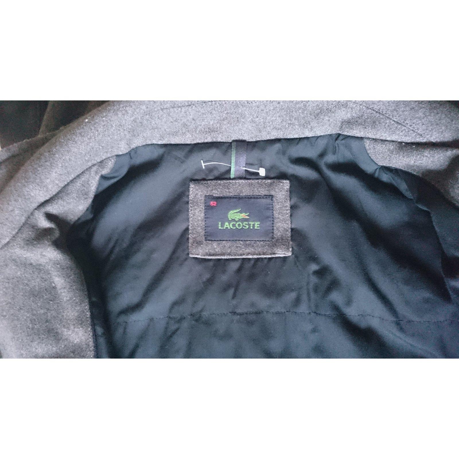 0fb38e84c129 Lacoste Coat Men Coats Outerwear Wool Grey ref.26821 - Joli Closet