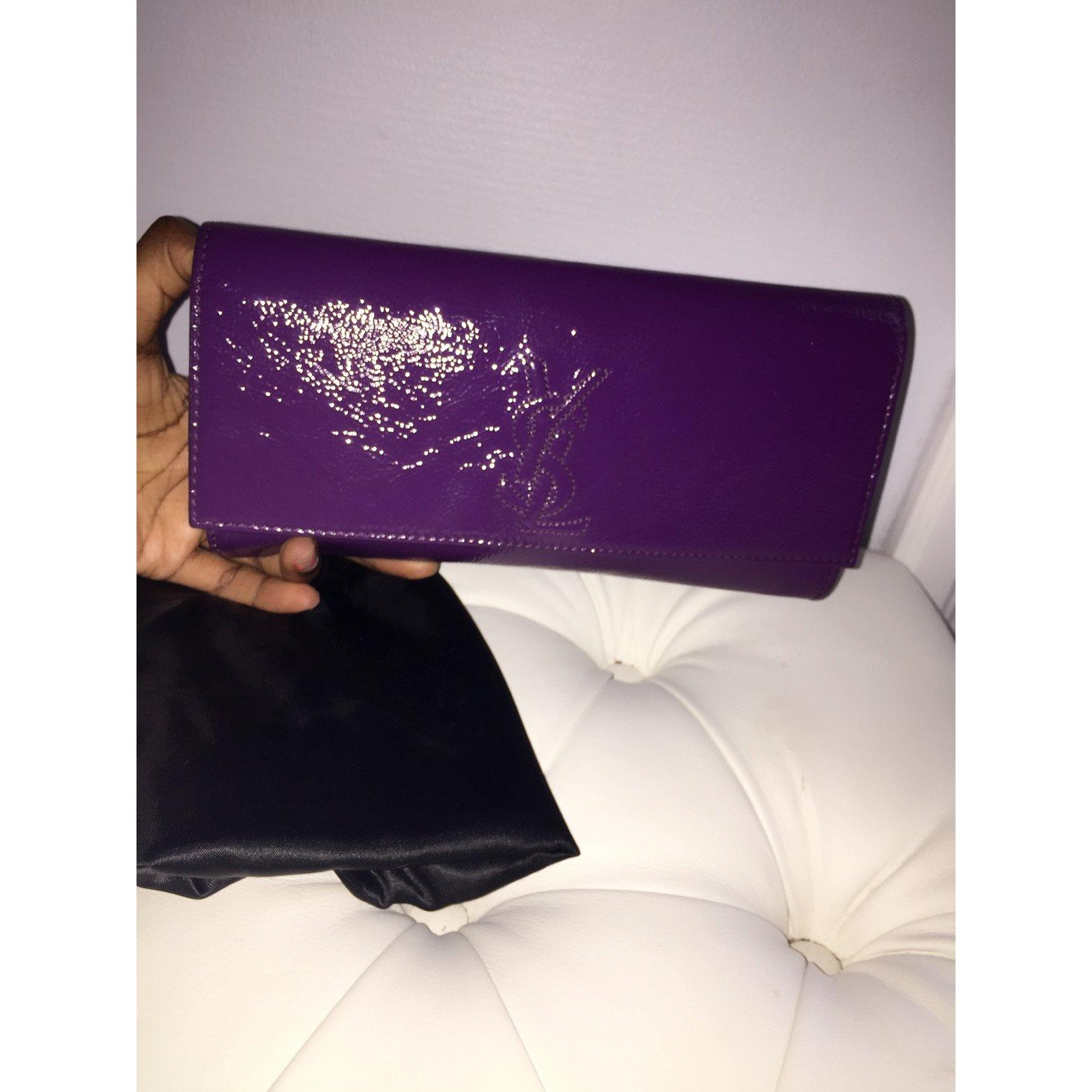 4232fdb906db Facebook · Pin This. Yves Saint Laurent BELLE DE JOUR Clutch bags Patent  leather Purple ...