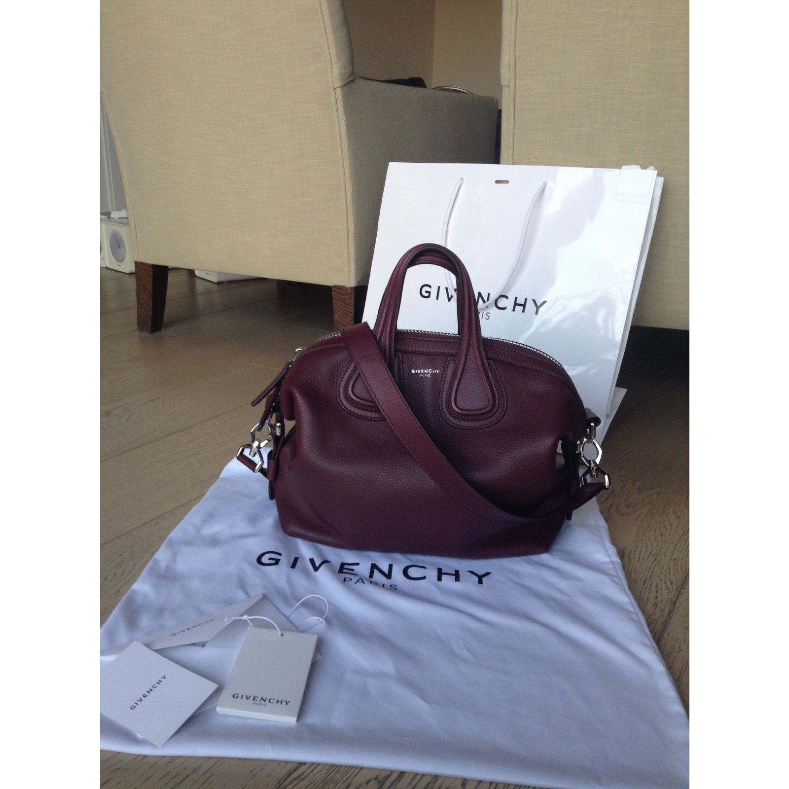 5a12ddb6b7 Facebook · Pin This. Givenchy Handbag Handbags Leather Dark red ref.27047