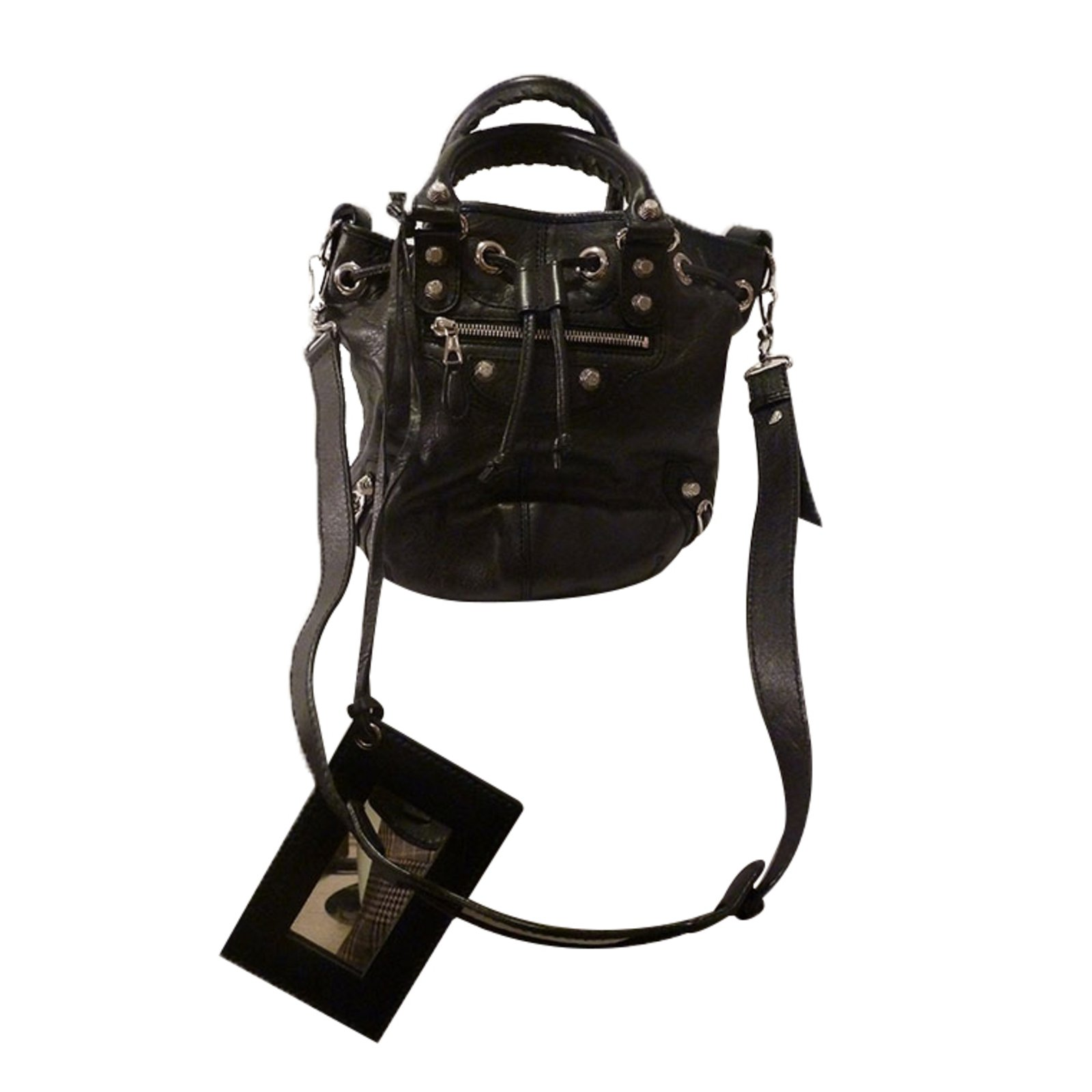 Balenciaga Giant 12 Mini Pom Pom Bucket Bag Handbags Leather Black  ref.27067 - Joli Closet 798ad8cf4e6e5