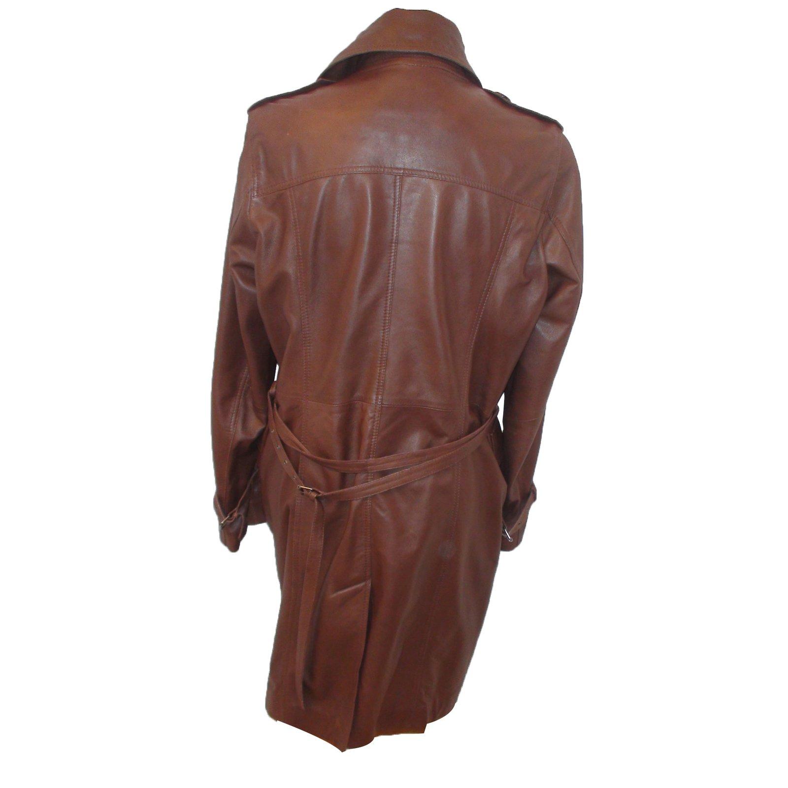 9041a7e51a016 Autre Marque  Caroll  Trench coat Trench coats Leather Brown ref.27309 -  Joli Closet