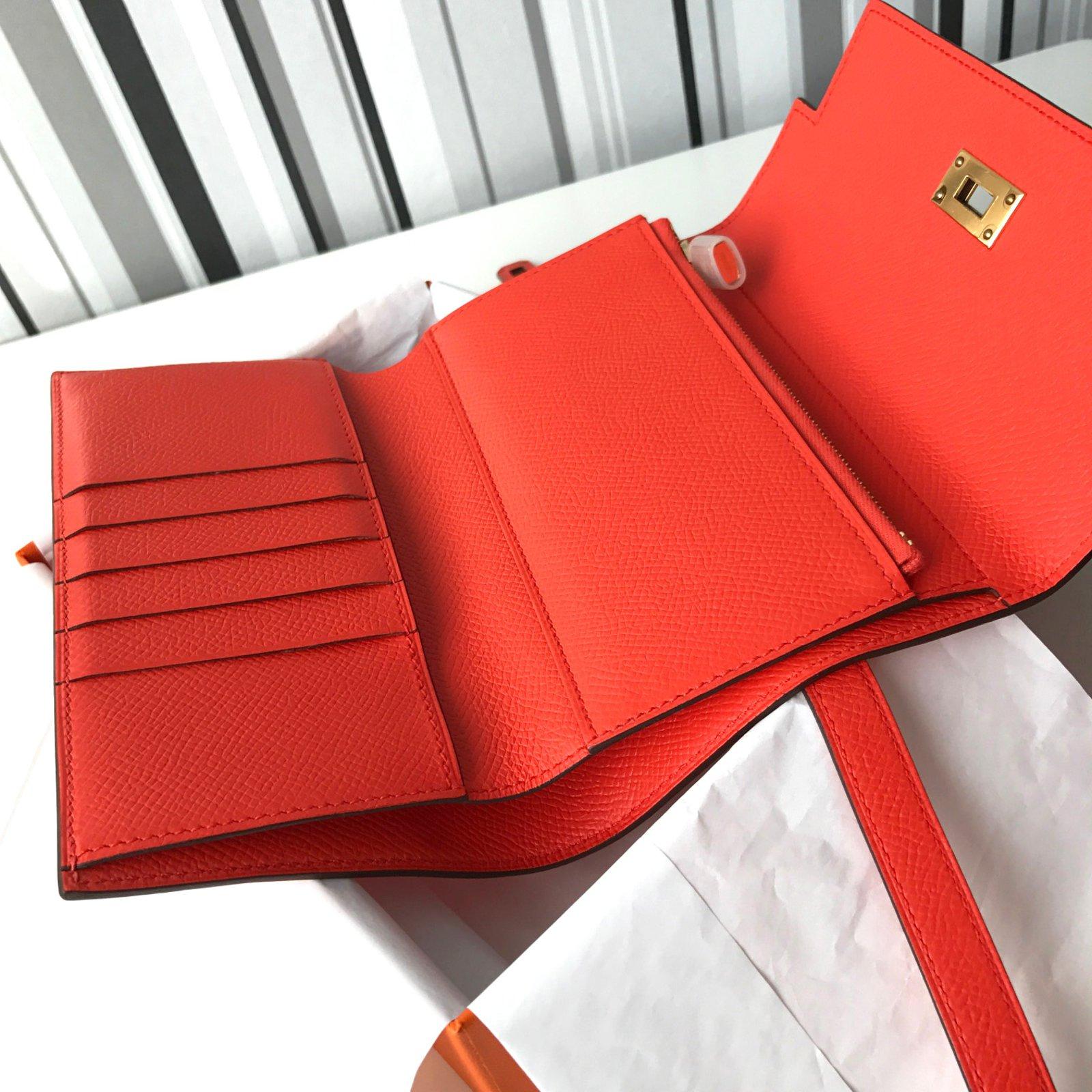 bd66e1d2511e Hermès Kelly compact wallet Wallets Leather Orange ref.27771 - Joli ...