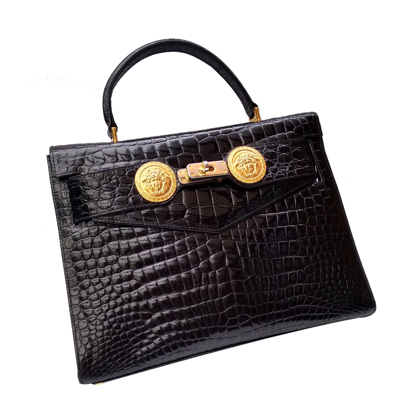 9ba1d6cc26ea Gianni Versace Handbag Handbags Patent leather Black ref.28199 ...