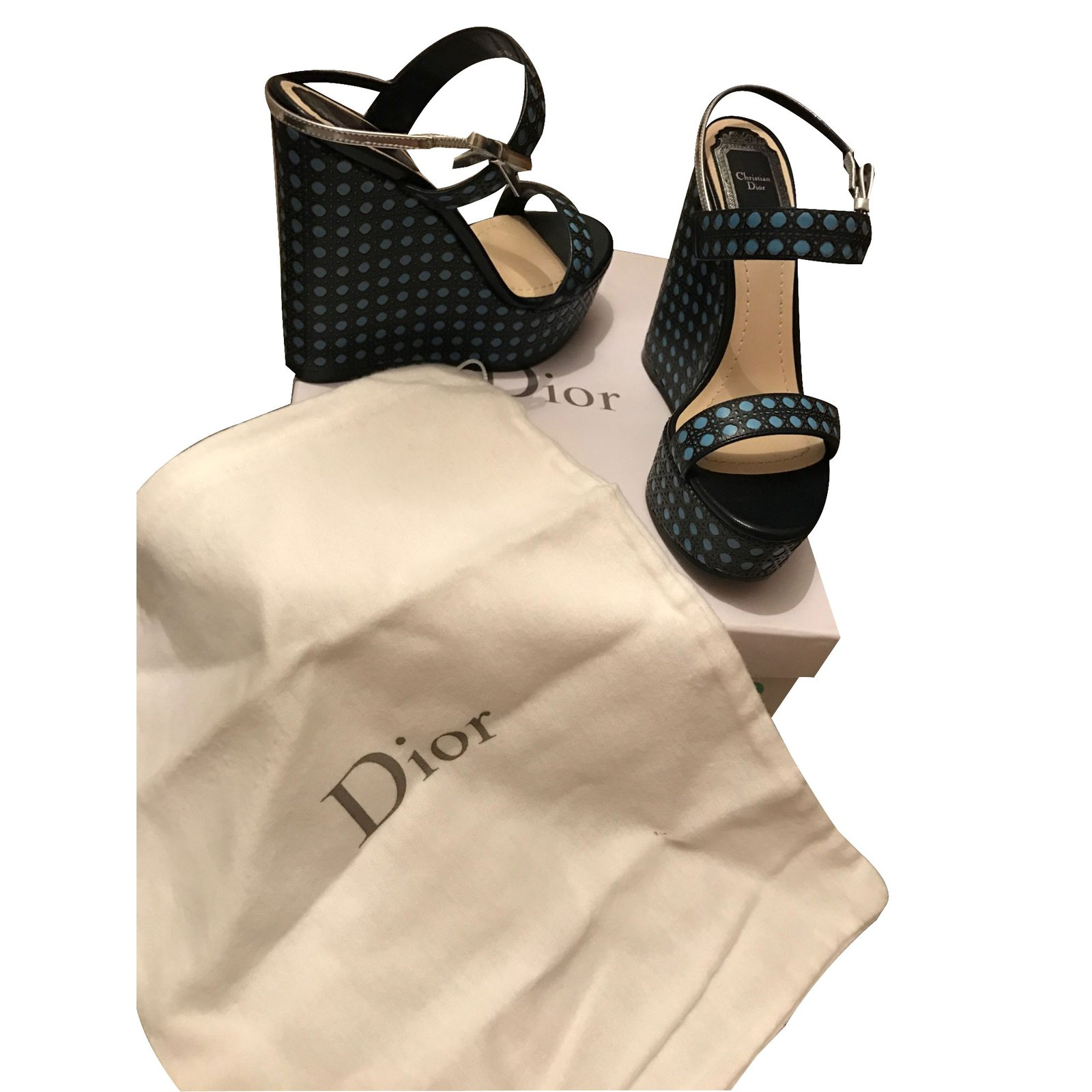 cc740e6f328 Christian Dior Wedges Wedge mules Leather Blue ref.28432 - Joli Closet