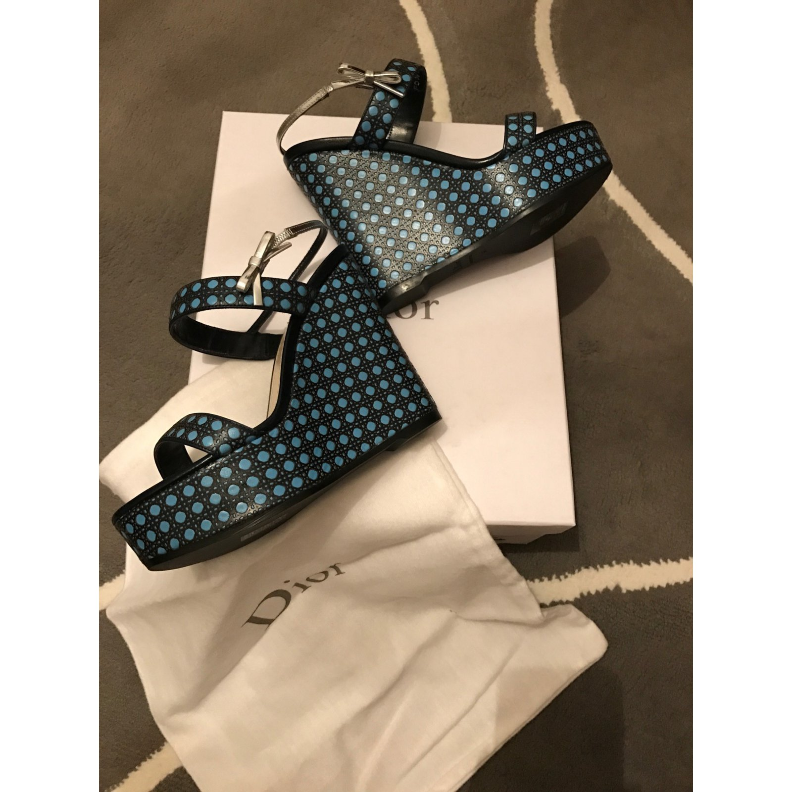 1b64fc97cbf Facebook · Pin This. Christian Dior Wedges Wedge mules Leather Blue ref. 28432