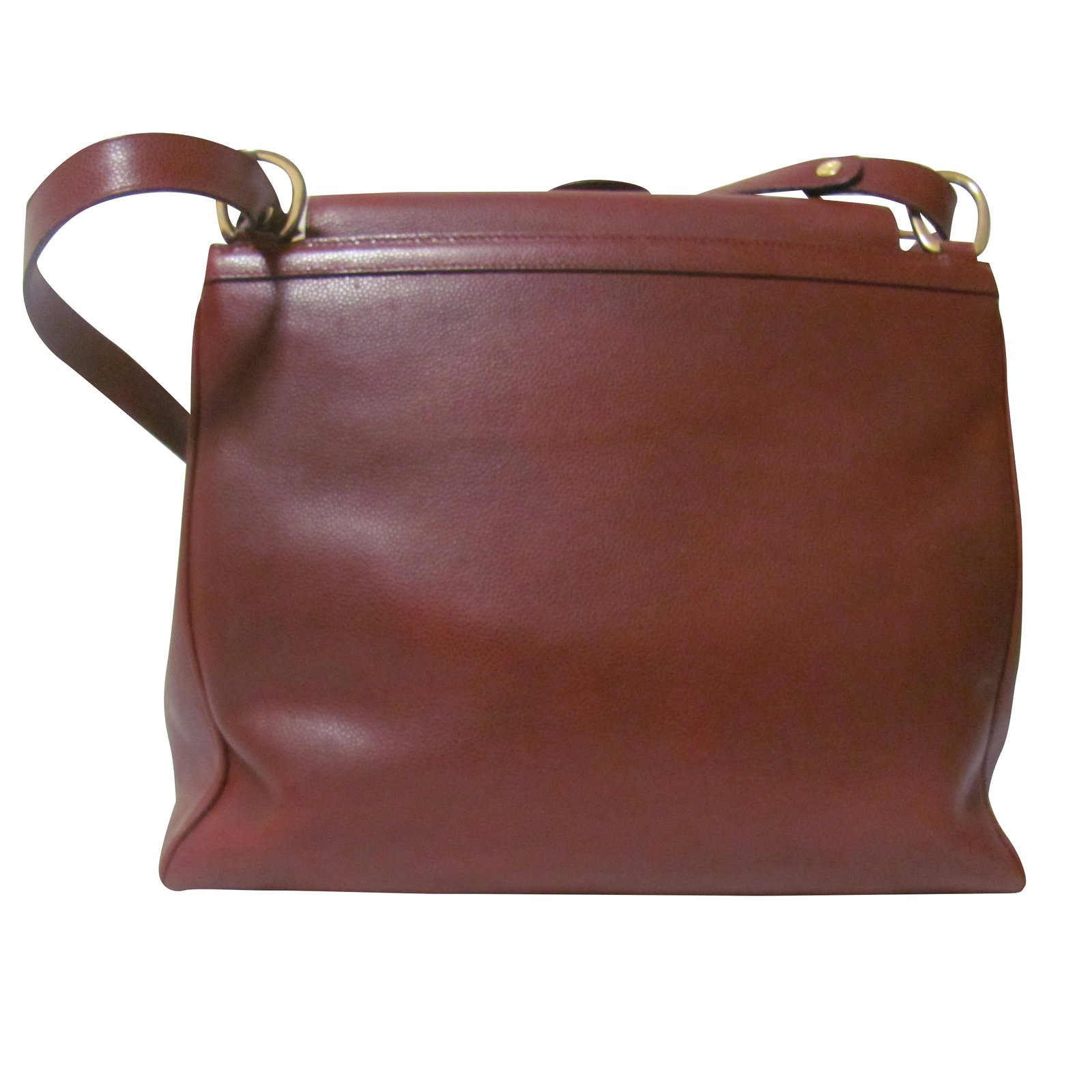 Nina Ricci Handbag Handbags Leather Dark Red Caramel Ref 28520 Joli Closet