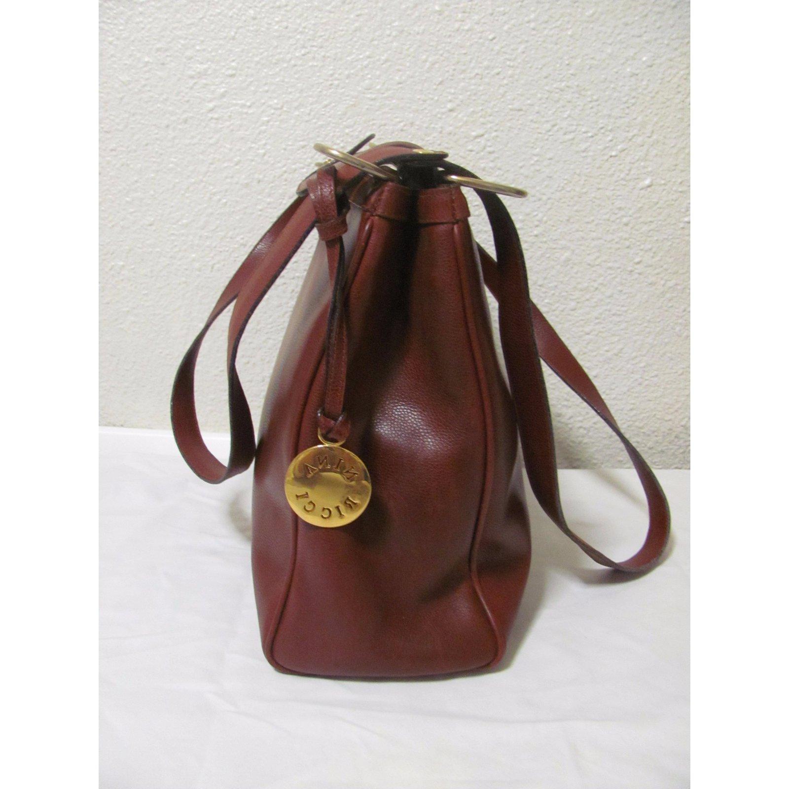 84525747371 Nina Ricci Handbag Handbags Leather Dark red,Caramel ref.28520 - Joli Closet