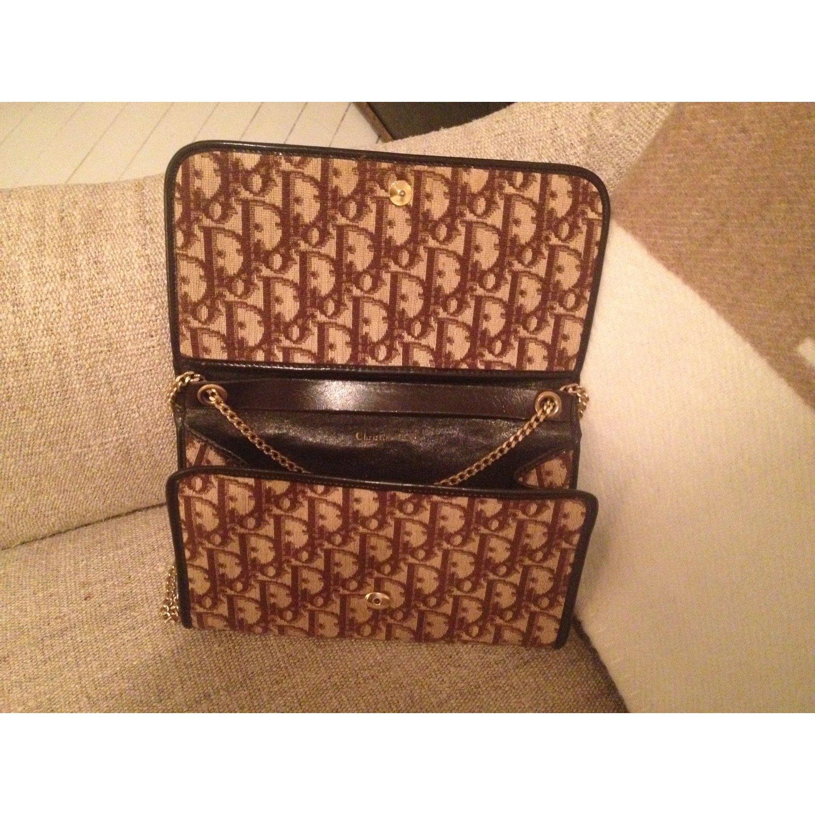 c930c4464b33c9 Sacs à main Dior Petit sac pochette Vintage Dior Cuir,Toile Marron,Beige  ref.28751 - Joli Closet