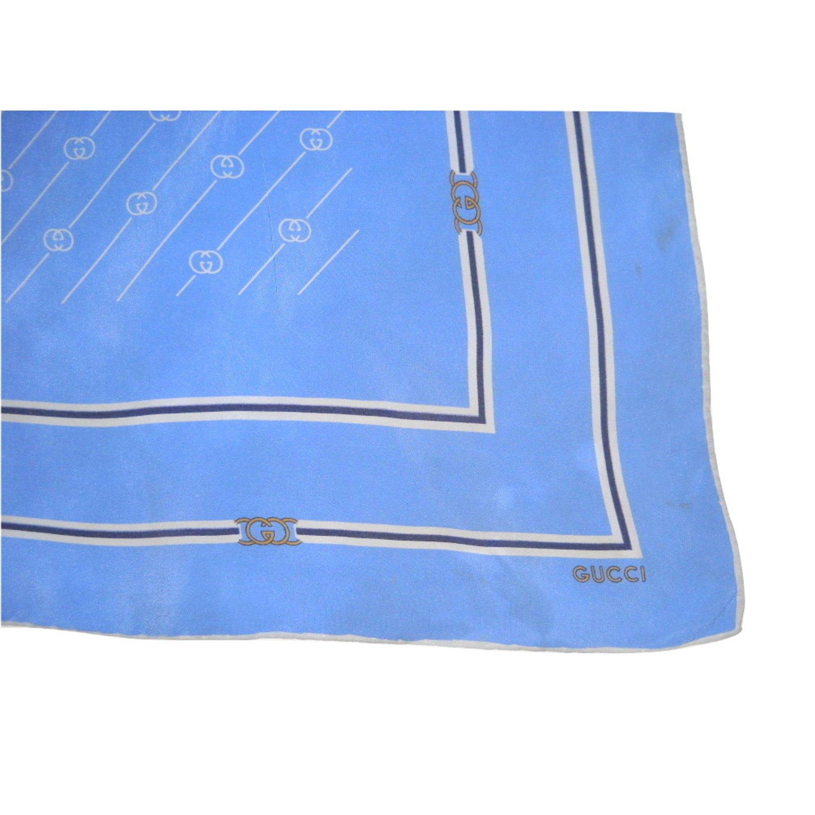 2c55b3137b75 Foulards Gucci Vintage foulard soie Soie Blanc,Bleu,Gris ref.28809 - Joli  Closet