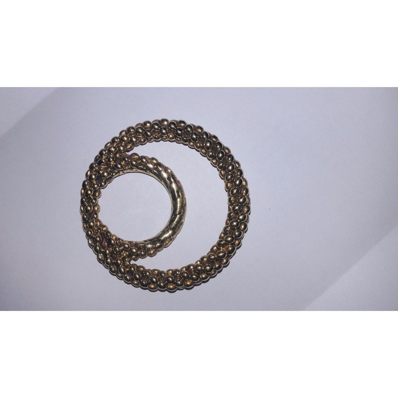Carrés Yves Saint Laurent Bague ou anneau foulard Plaqué or Doré ref.29200  - Joli Closet 6e251532410