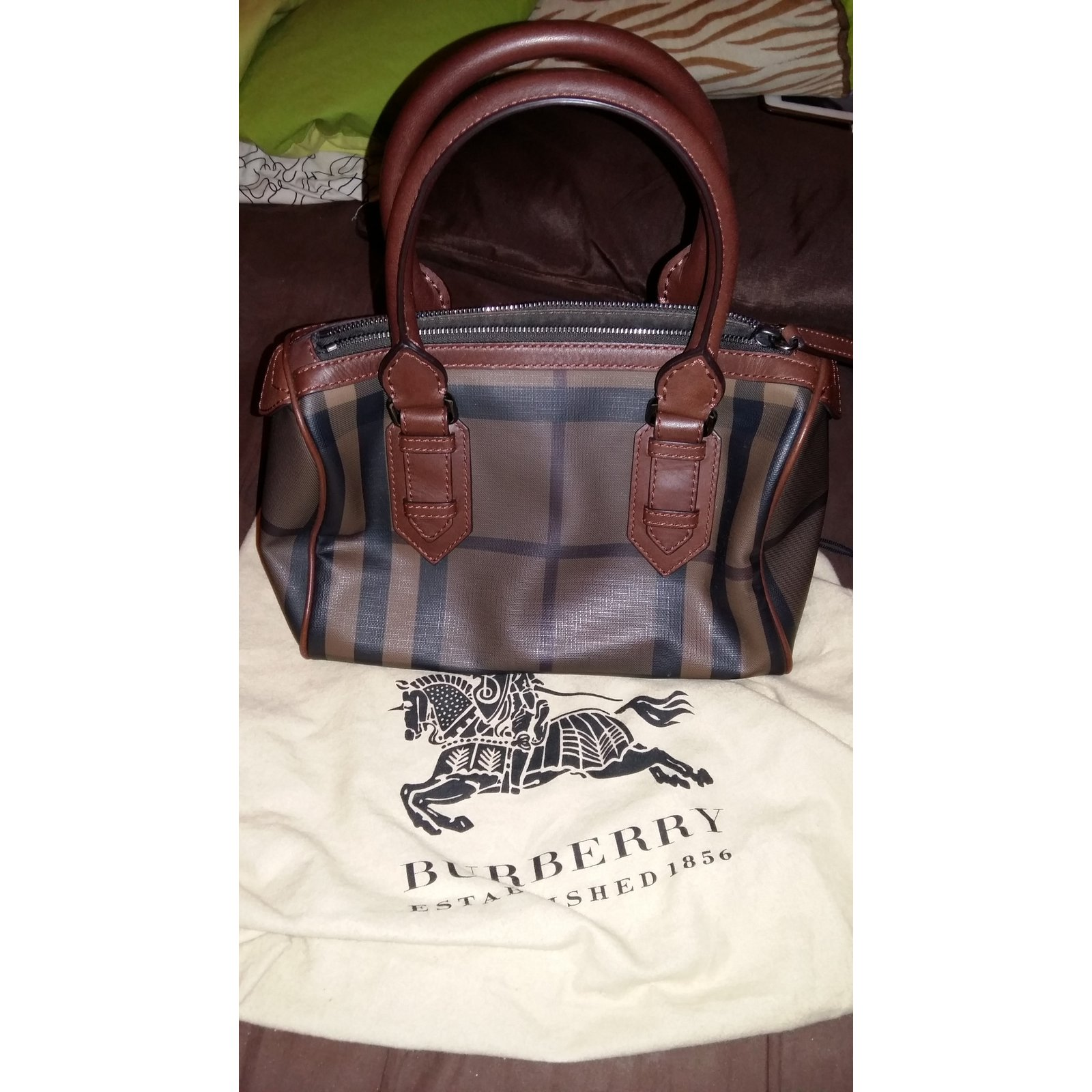 Burberry Smoked Check Chester Bowling Bag Brown Handbags Leather Multiple Colors Ref 30230 Joli Closet