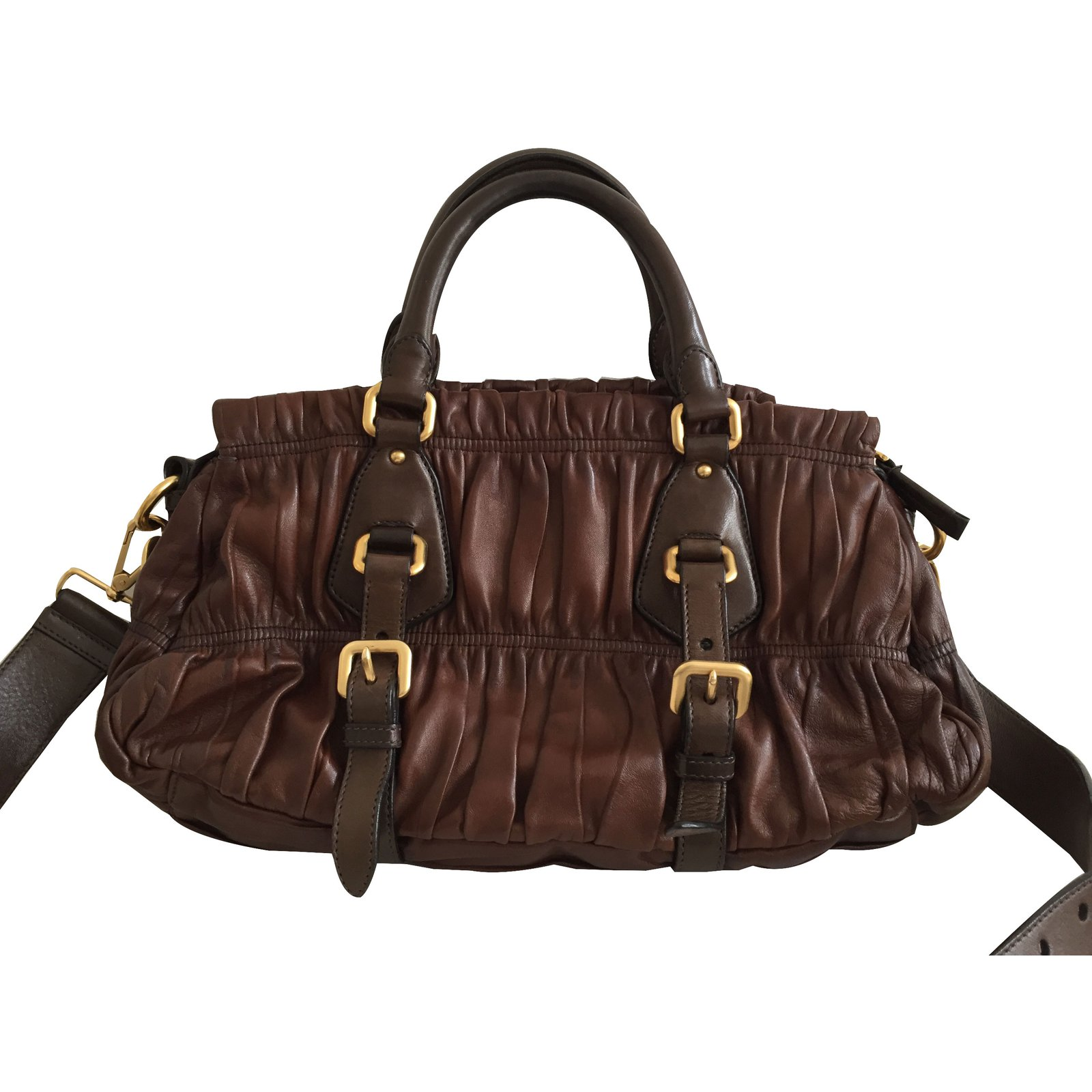 50f33485df53 Prada Prada Nappa gauffre bag brown Handbags Leather Brown ref.30329 - Joli  Closet