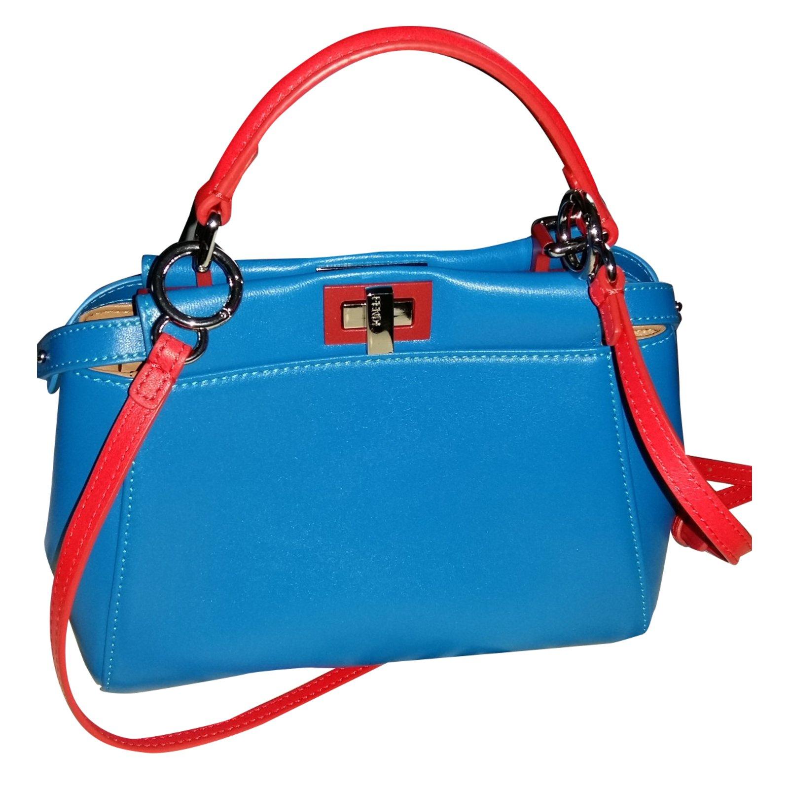 69fde4b87d Fendi Mini Peekaboo Handbags Leather Blue ref.30898 - Joli Closet