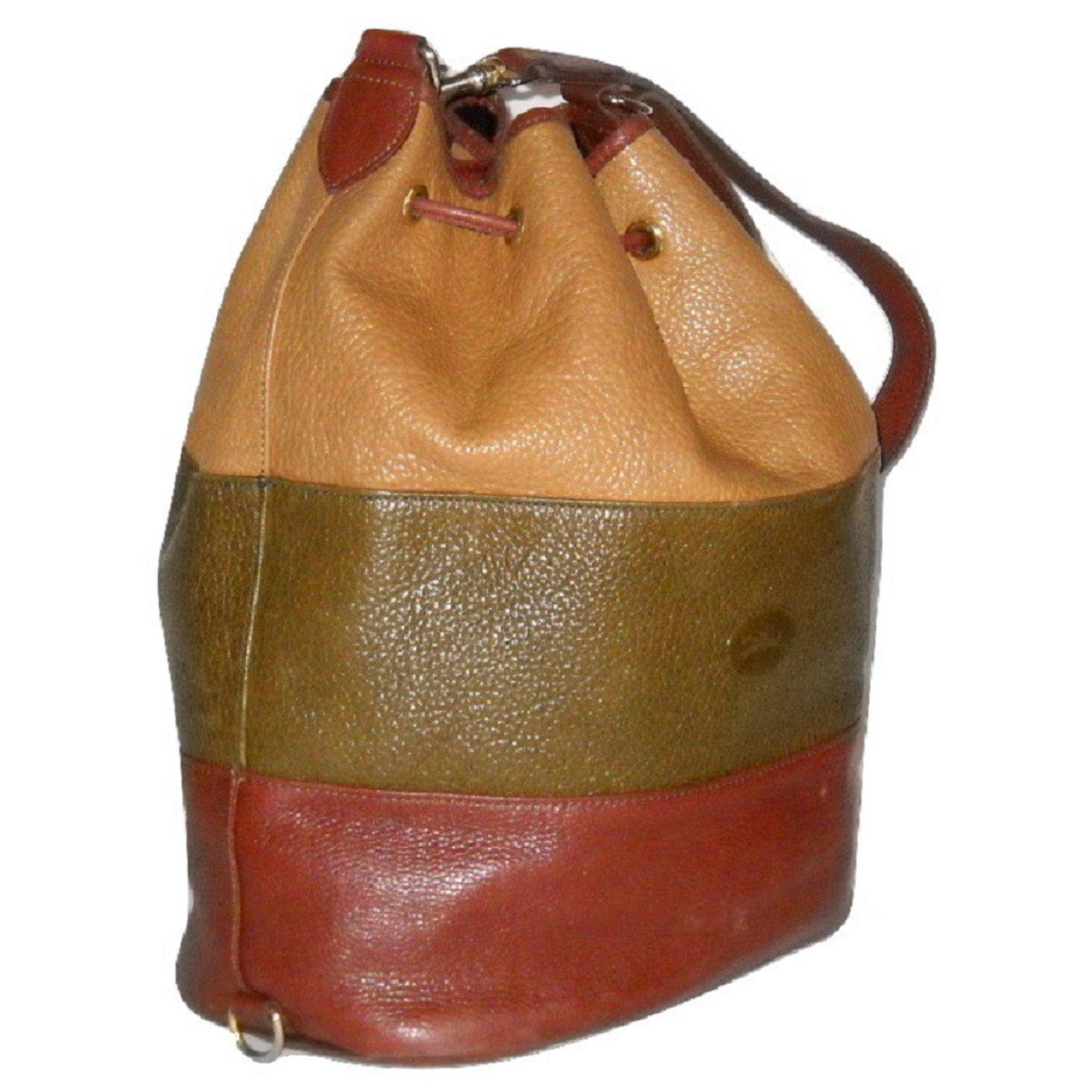 Vintage sac seau cuir grané