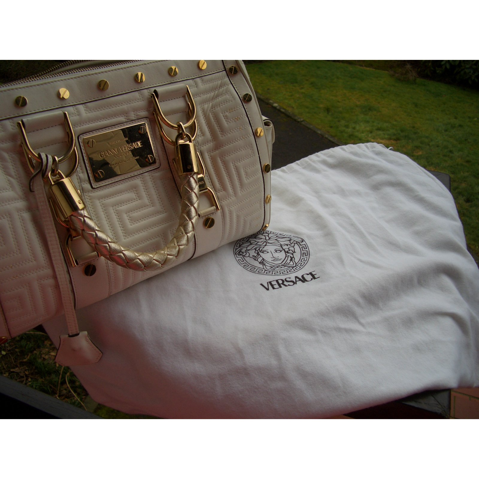Facebook · Pin This. Gianni Versace Handbag Handbags Leather Cream ref.32645 a7329098369b4