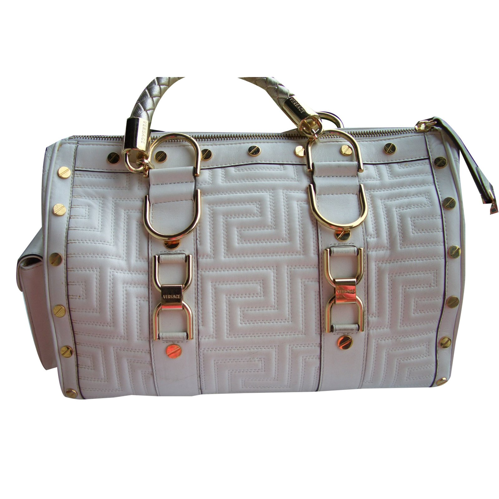 Gianni Versace Handbag Handbags Leather Cream ref.32645 - Joli Closet ccc82c063dc03
