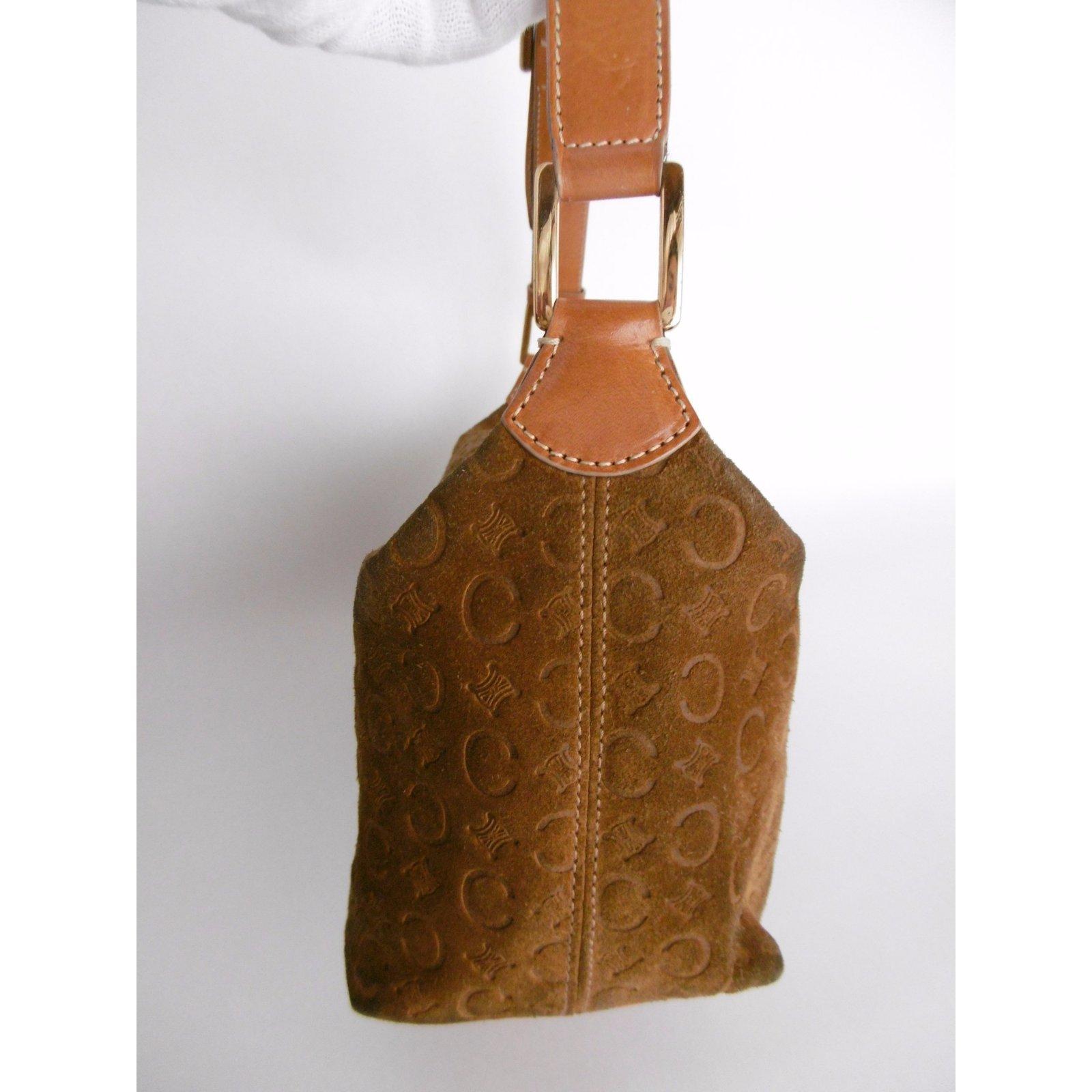 3cf004b5cf Céline Leather Suede Monogram Logo Shoulder Bag Handbags Suede Brown ref.32691  - Joli Closet