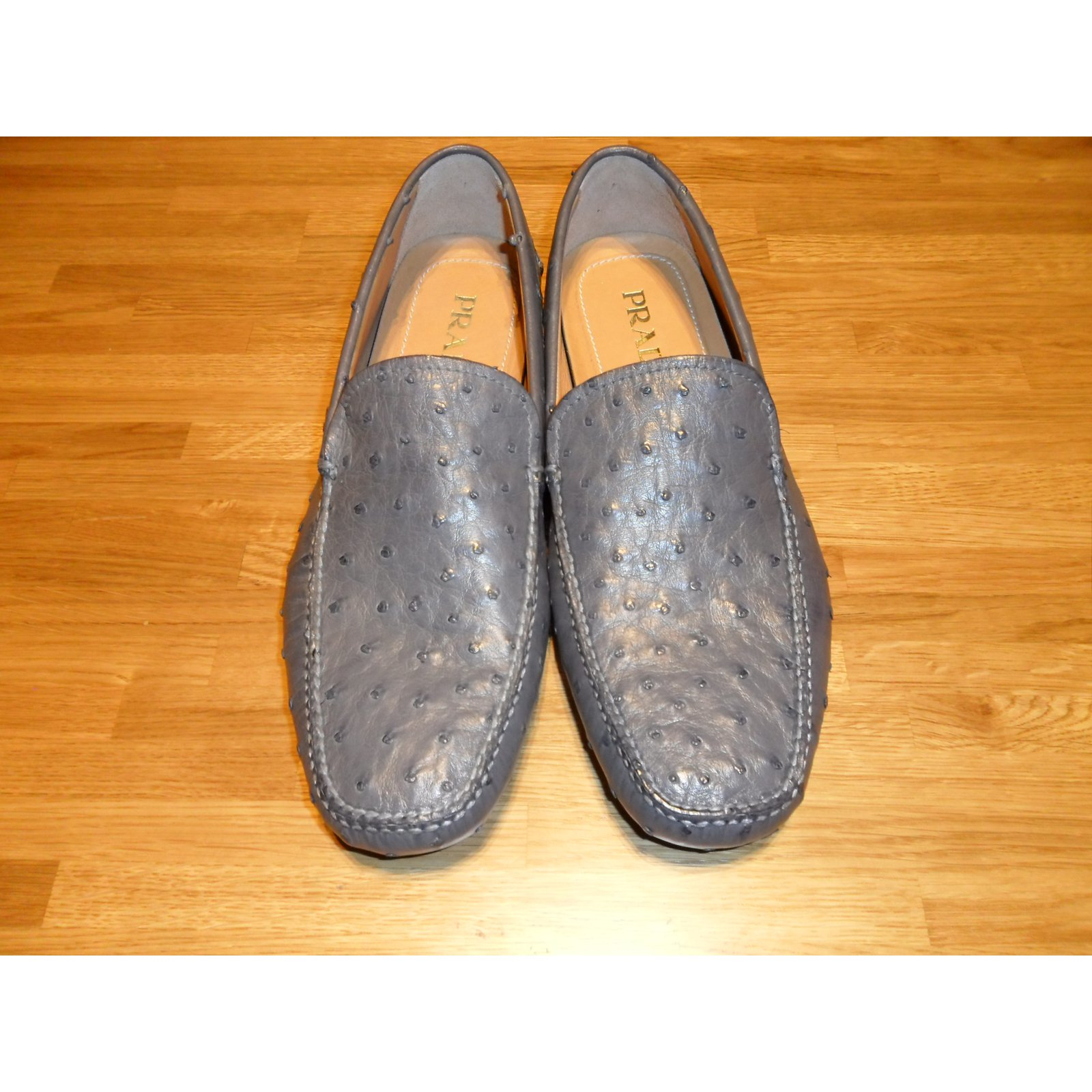 7621174bf88 Prada PRADA BRAND NEW MEN S OSTRICH LEATHER DRIVING SHOES Loafers Slip ons  Other Grey ref.32879 - Joli Closet