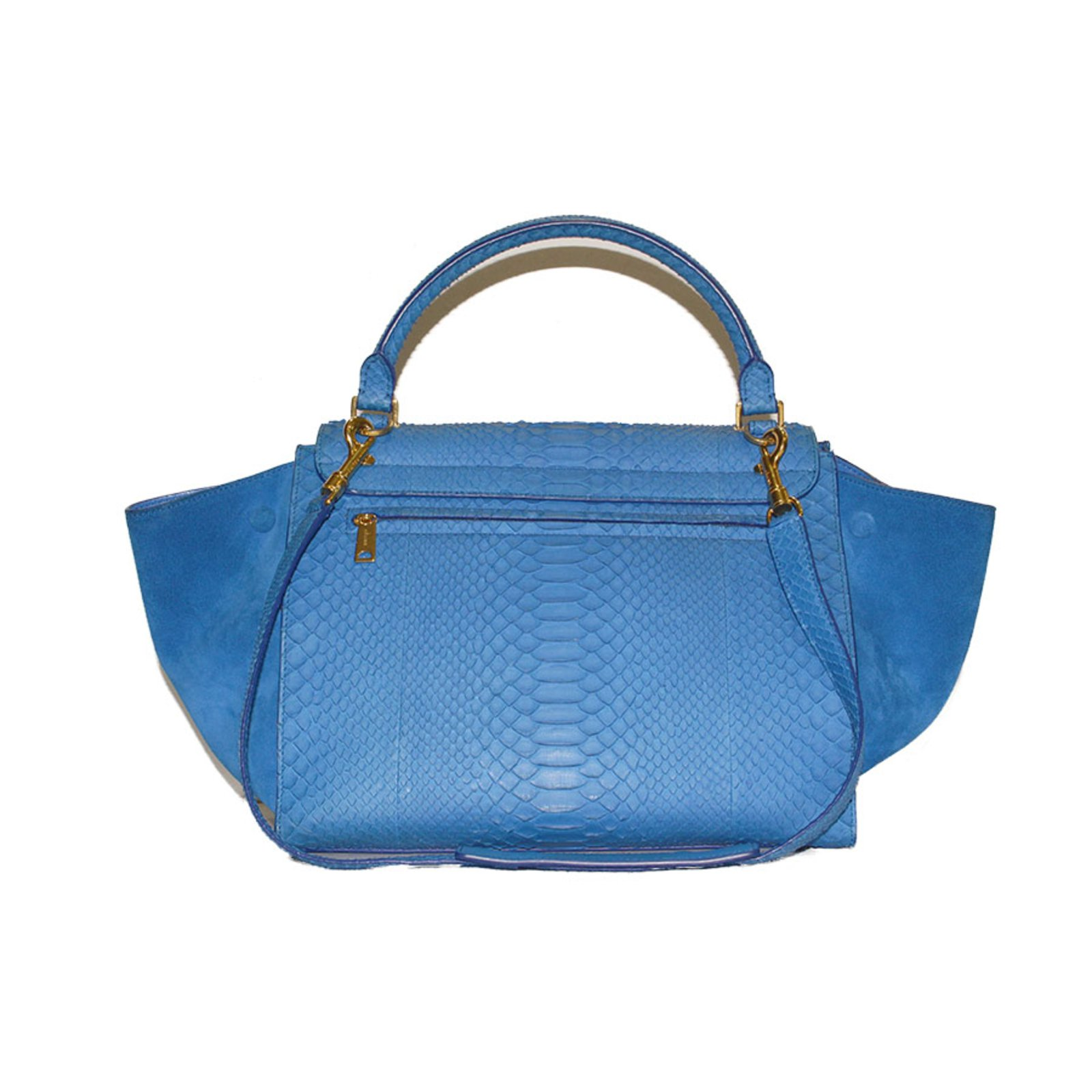 Céline Electric Blue Python Tze Handbag Handbags Exotic Leather Ref 33102 Joli Closet
