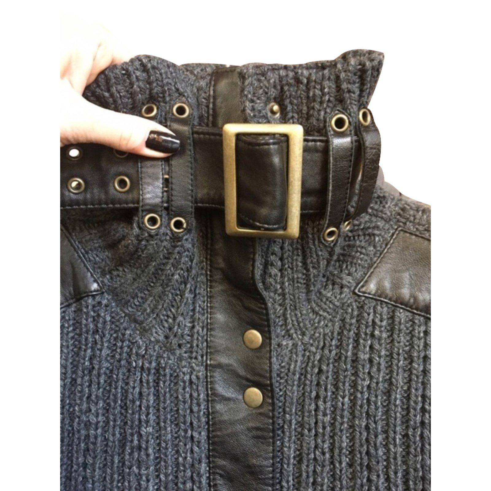 pulls gilets autre marque gilet morgan cuir laine noir gris joli closet. Black Bedroom Furniture Sets. Home Design Ideas