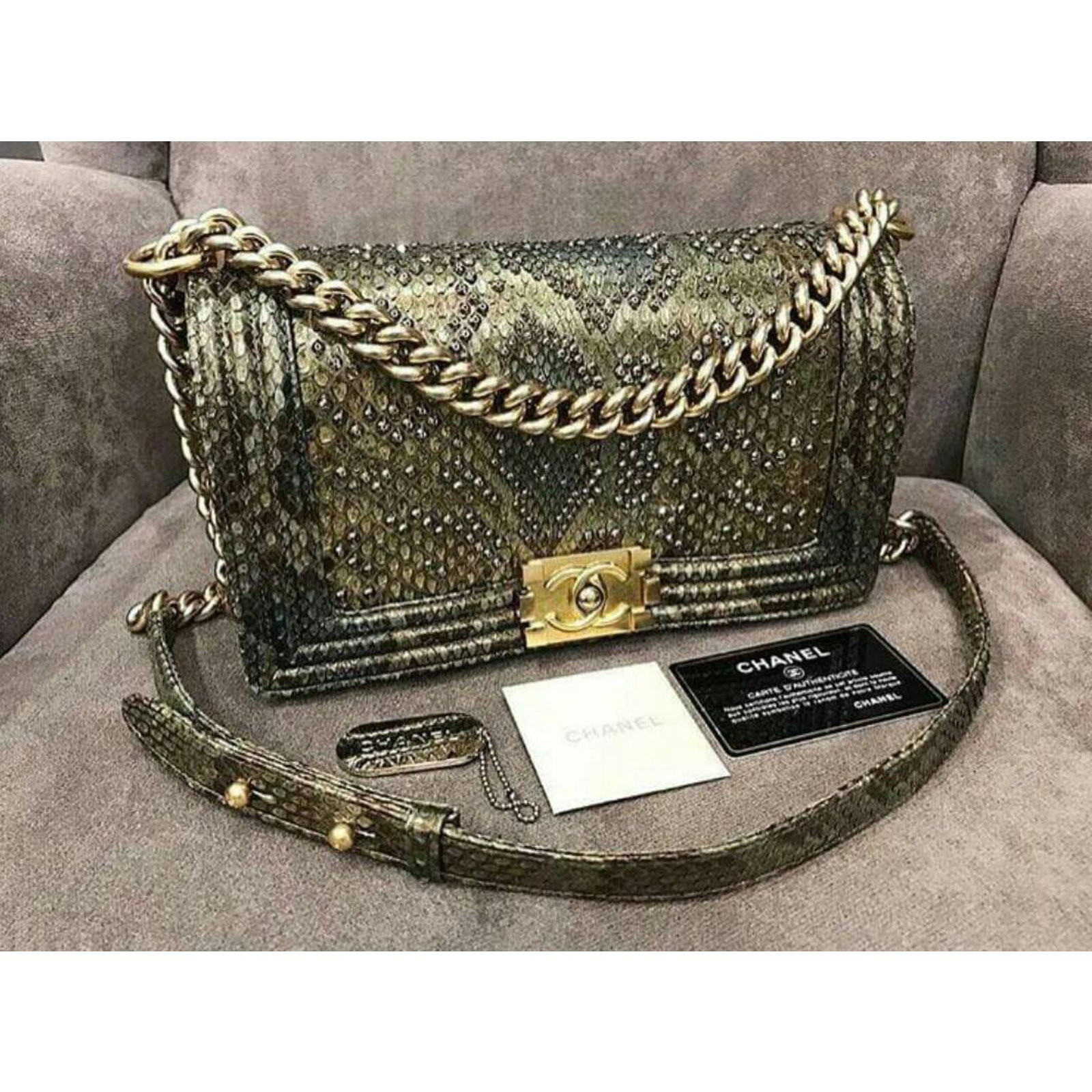 031236d340ac Chanel Medium Versailles Python Boy Bag Handbags Exotic leather Golden  ref.34190 - Joli Closet