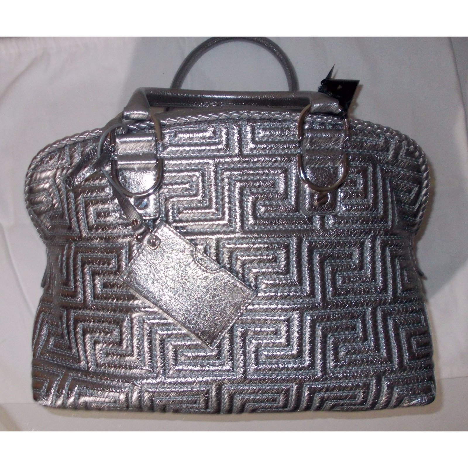 05fe93bd57e0 Gianni versace handbag handbags leather grey metallic ref joli closet jpg  1600x1600 Leather versace bags 2017