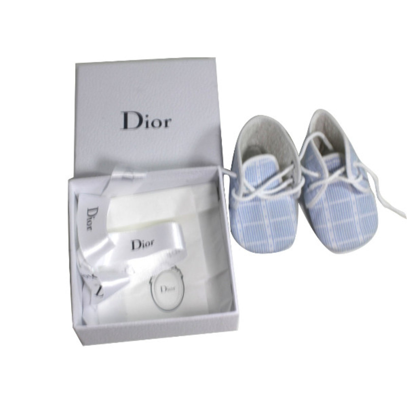 premiers pas baby dior sneakers coton blanc bleu. Black Bedroom Furniture Sets. Home Design Ideas