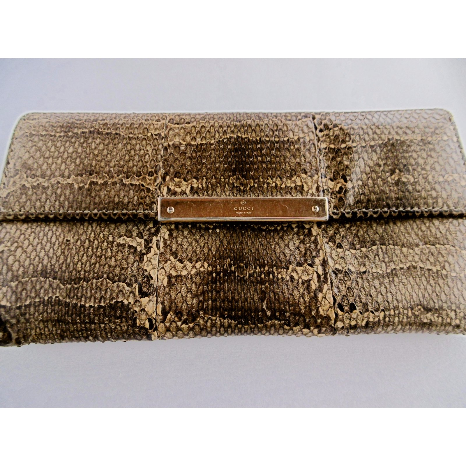 2da3154bfa9b Gucci Gucci Snakeskin Leather Long Wallet Wallets Exotic leather Brown,Beige  ref.34601 - Joli Closet