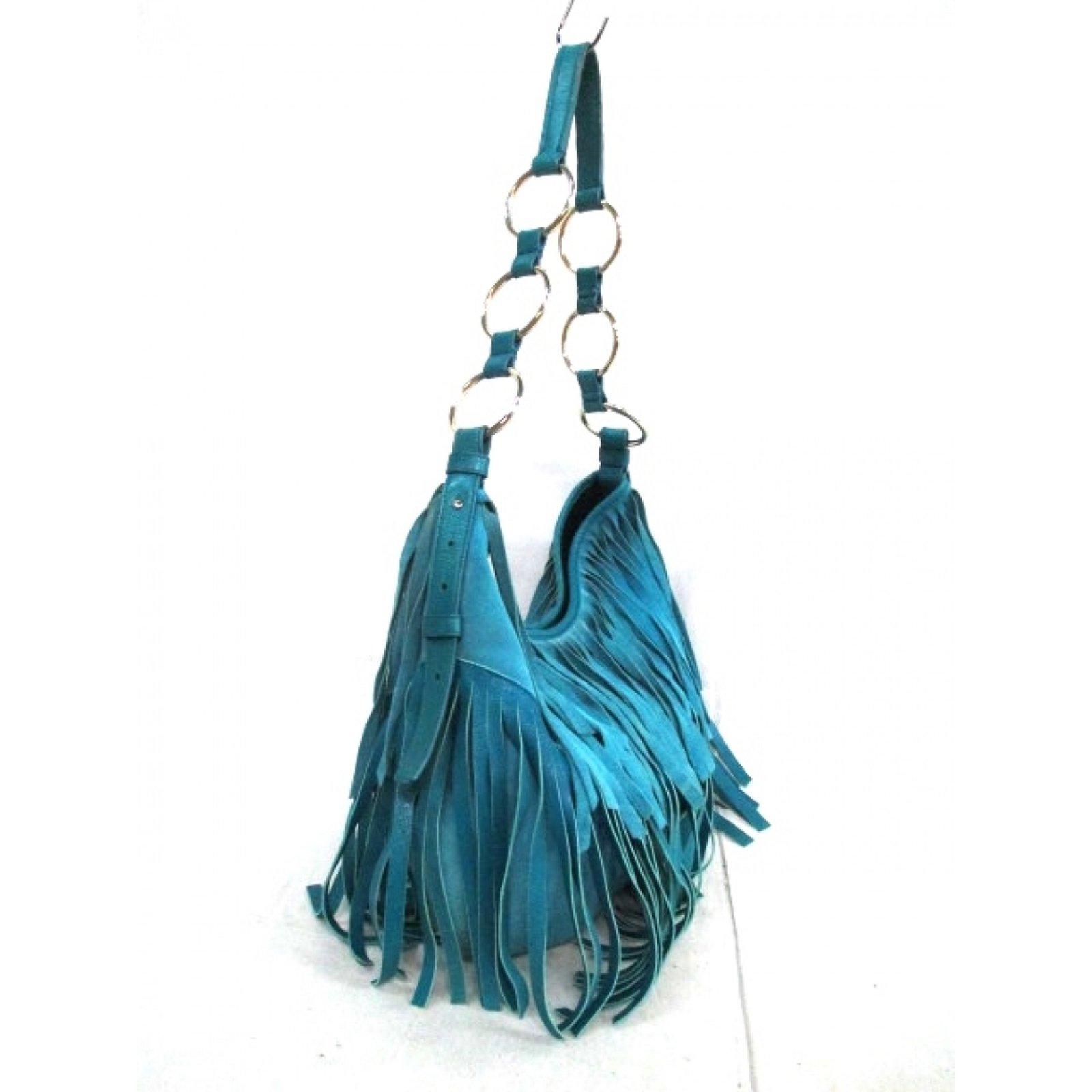 5e52abbf47 Yves Saint Laurent YSL La Boheme Bag Handbags Suede,Leather Blue ref.34904  - Joli Closet