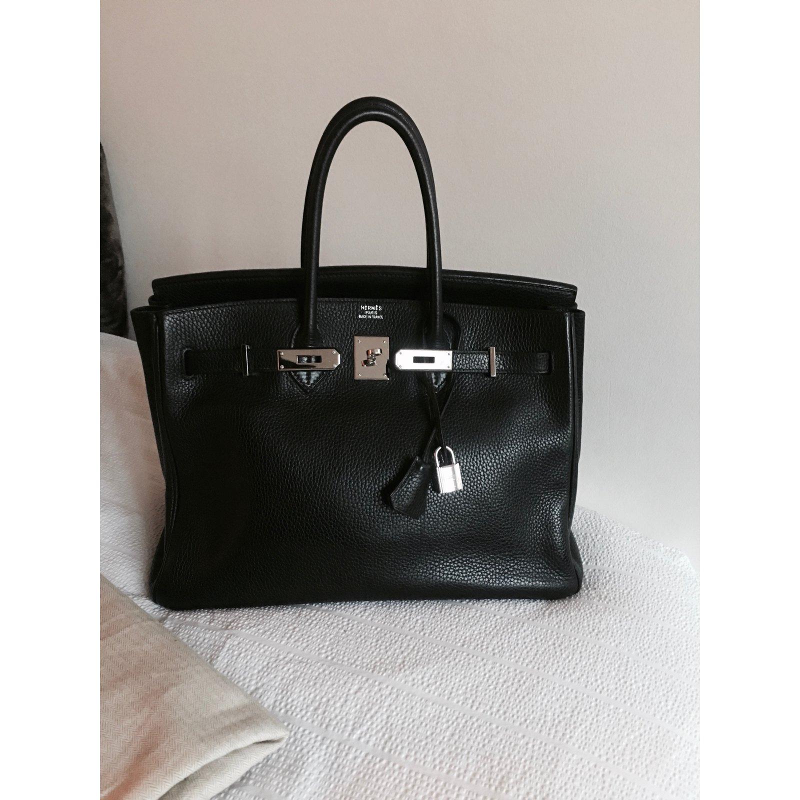 Sac HERMES Birkin cuir Togo noir 35 cm