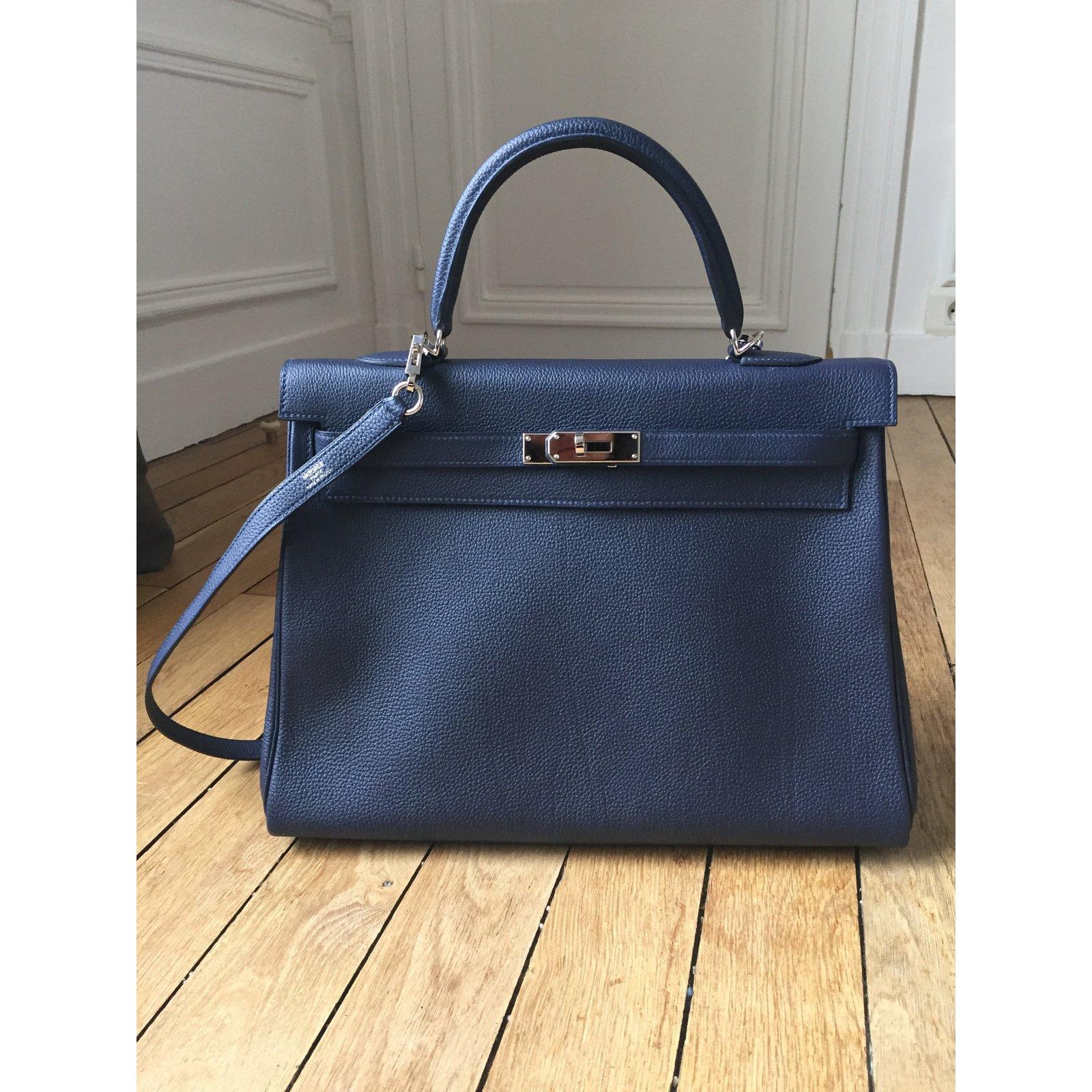 af6a191455 Sacs à main Hermès Sac Kelly 35Togo Bleu Nuit Cuir Bleu ref.35677 - Joli  Closet