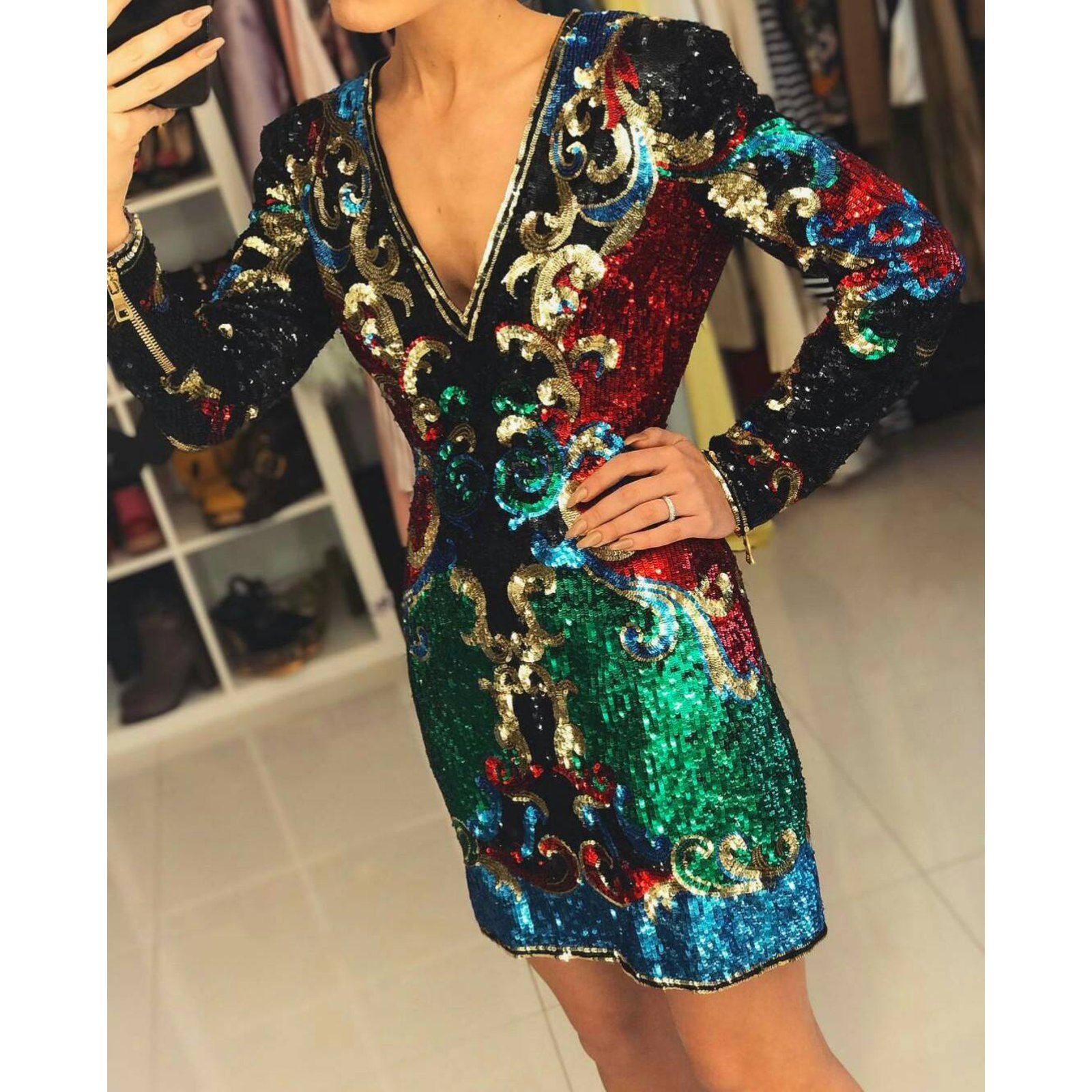 92e3dfc9bb47c Balmain V Neck Sequin Embellished Mini Dress Dresses Silk Multiple