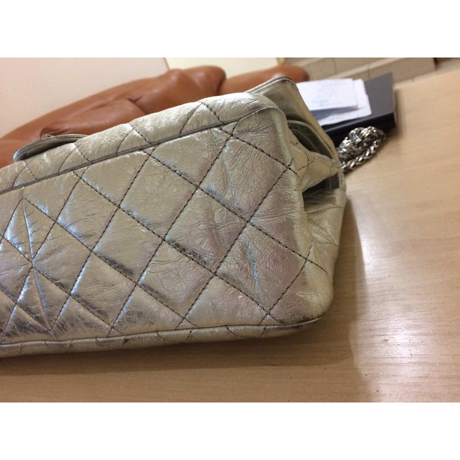 3e97cc8a919b Facebook · Pin This. Chanel Silver Metallic 2.55 Reissue Quilted Classic  Leather 227 Jumbo Flap Bag Handbags Leather Silvery ref
