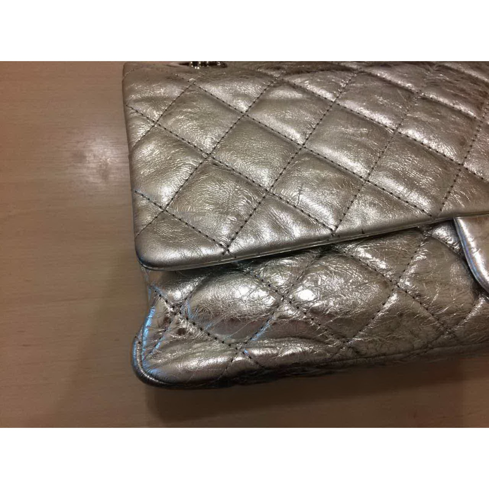 d46812d6635d Chanel Silver Metallic 2.55 Reissue Quilted Classic Leather 227 Jumbo Flap  Bag Handbags Leather Silvery ref.36245 - Joli Closet