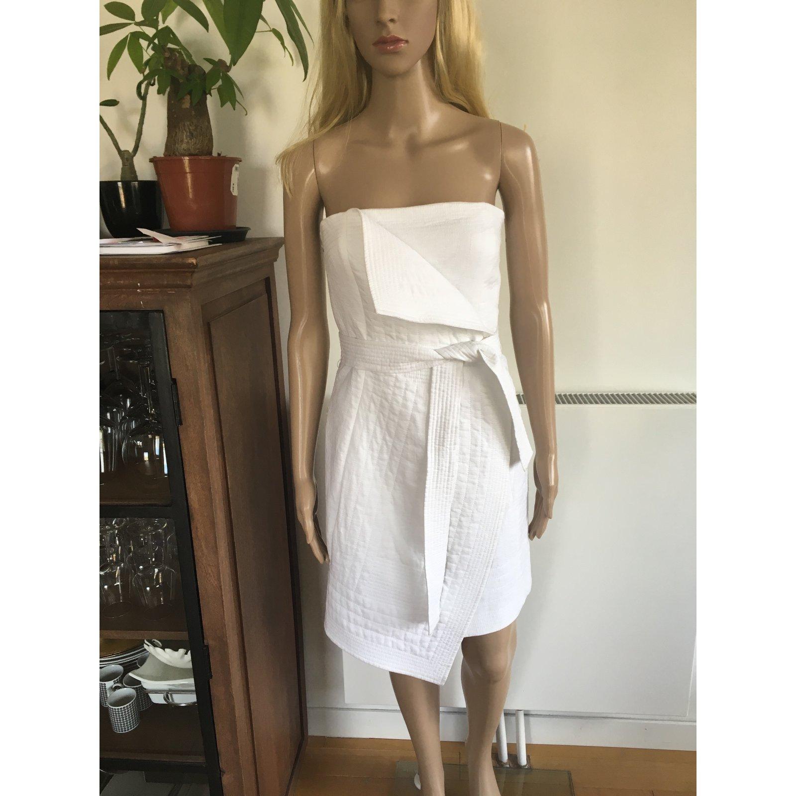 Robes Bcbg Max Azria Robe Angelina Coton Blanc ref.28029 ...