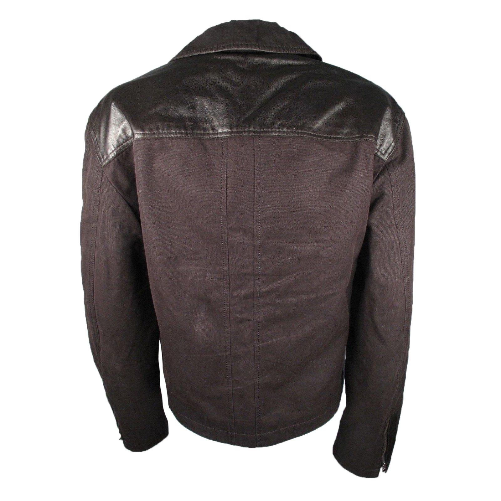 manteaux homme elie tahari veste en cuir et toile cuir. Black Bedroom Furniture Sets. Home Design Ideas