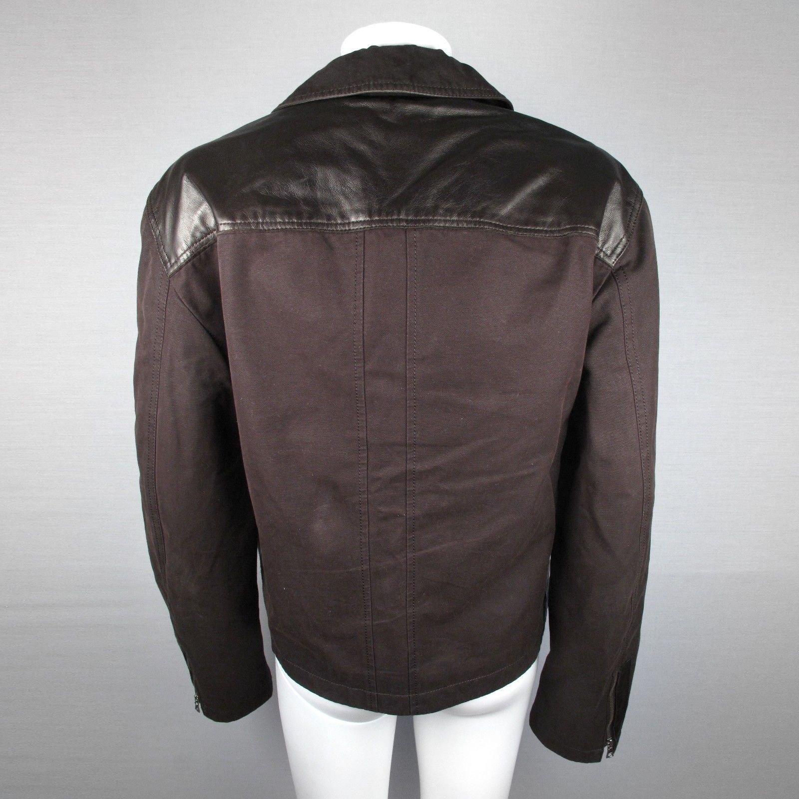 manteaux homme elie tahari veste en cuir et toile cuir marron joli closet. Black Bedroom Furniture Sets. Home Design Ideas