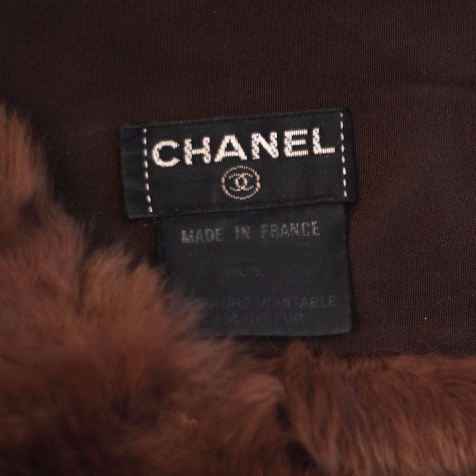 Foulards Chanel écharpe matelassée en fourrure Fourrure Marron ref.37181 -  Joli Closet 71447f93ece