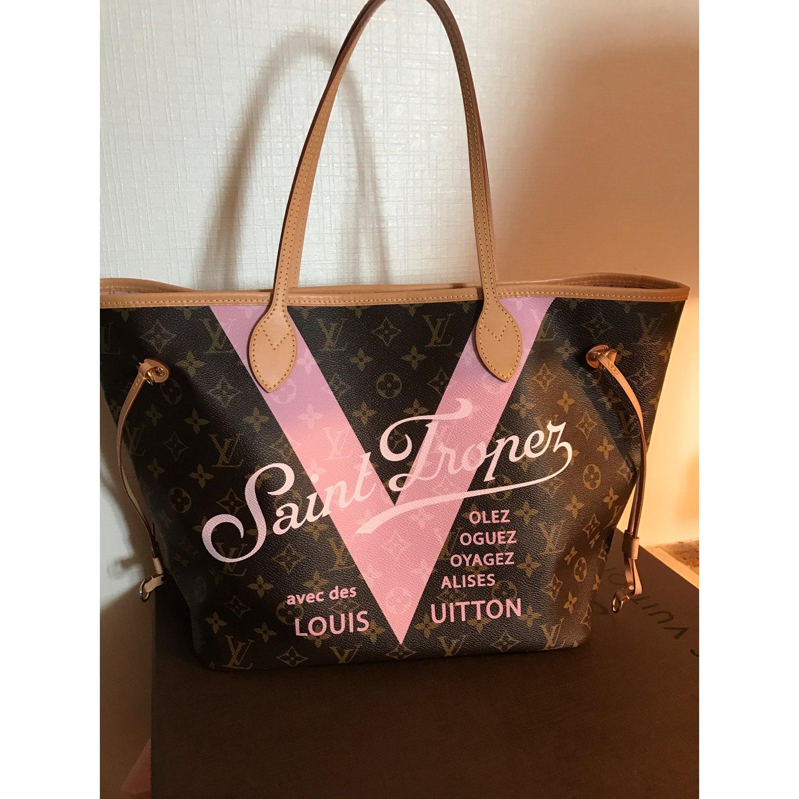 Sacs à main Louis Vuitton Louis Vuitton neverfull MM rose ballerine  superbe. Toile Autre ref.37292 - Joli Closet dc5568f698b