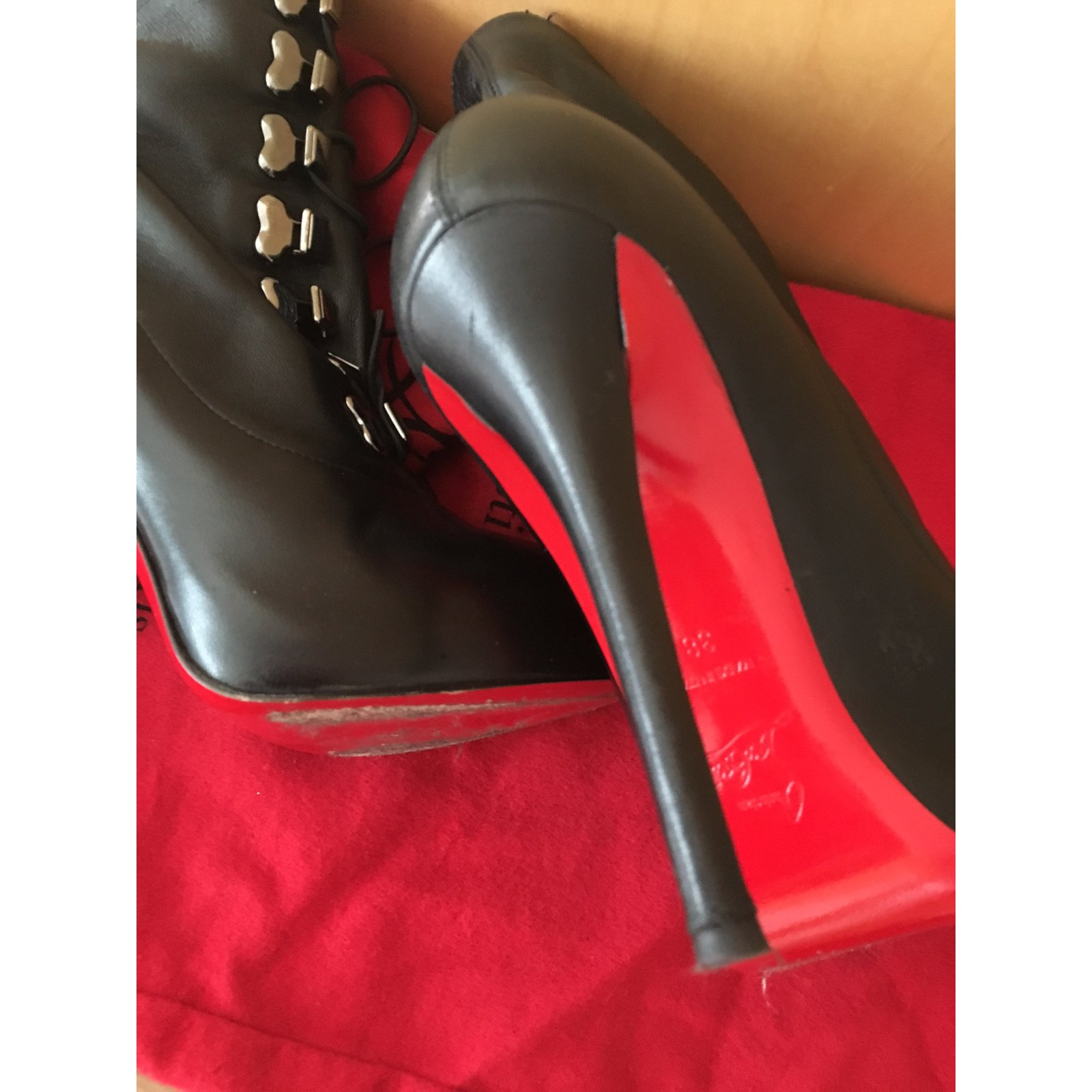 a63e6c3680be Christian Louboutin TROOPISTA 120 NAPPA Boots Leather Black ref.37442 - Joli  Closet